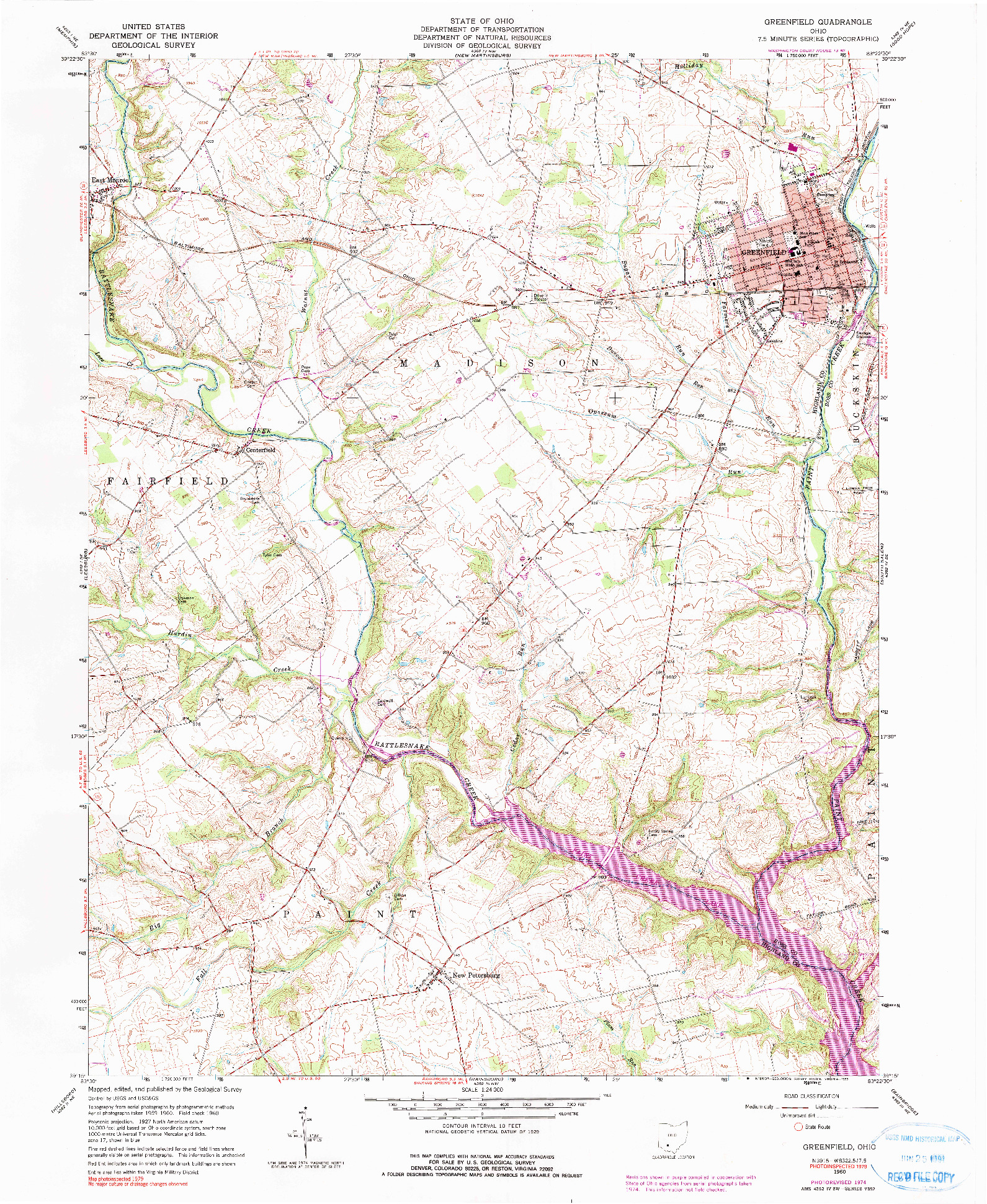USGS 1:24000-SCALE QUADRANGLE FOR GREENFIELD, OH 1960