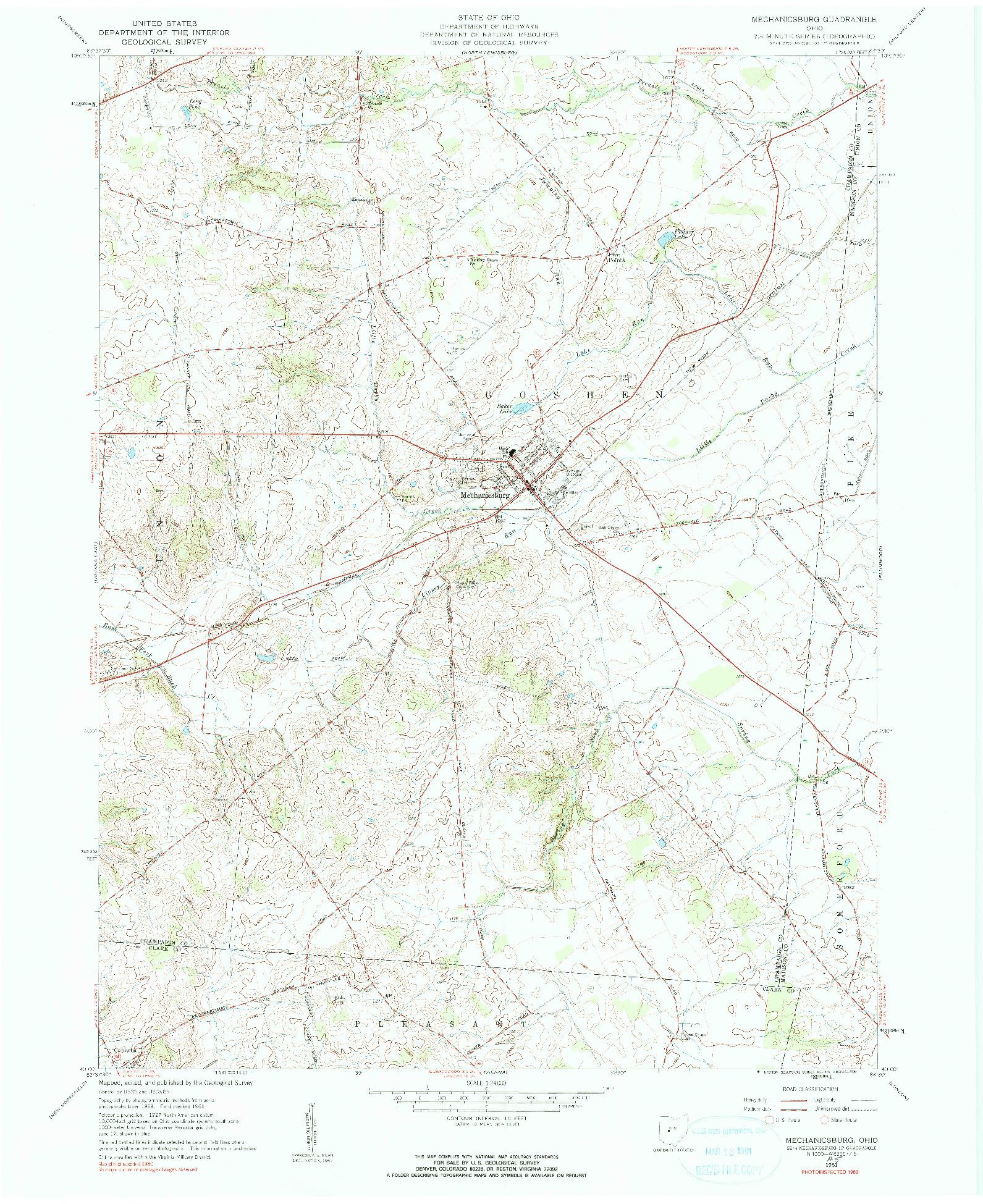 USGS 1:24000-SCALE QUADRANGLE FOR MECHANICSBURG, OH 1961
