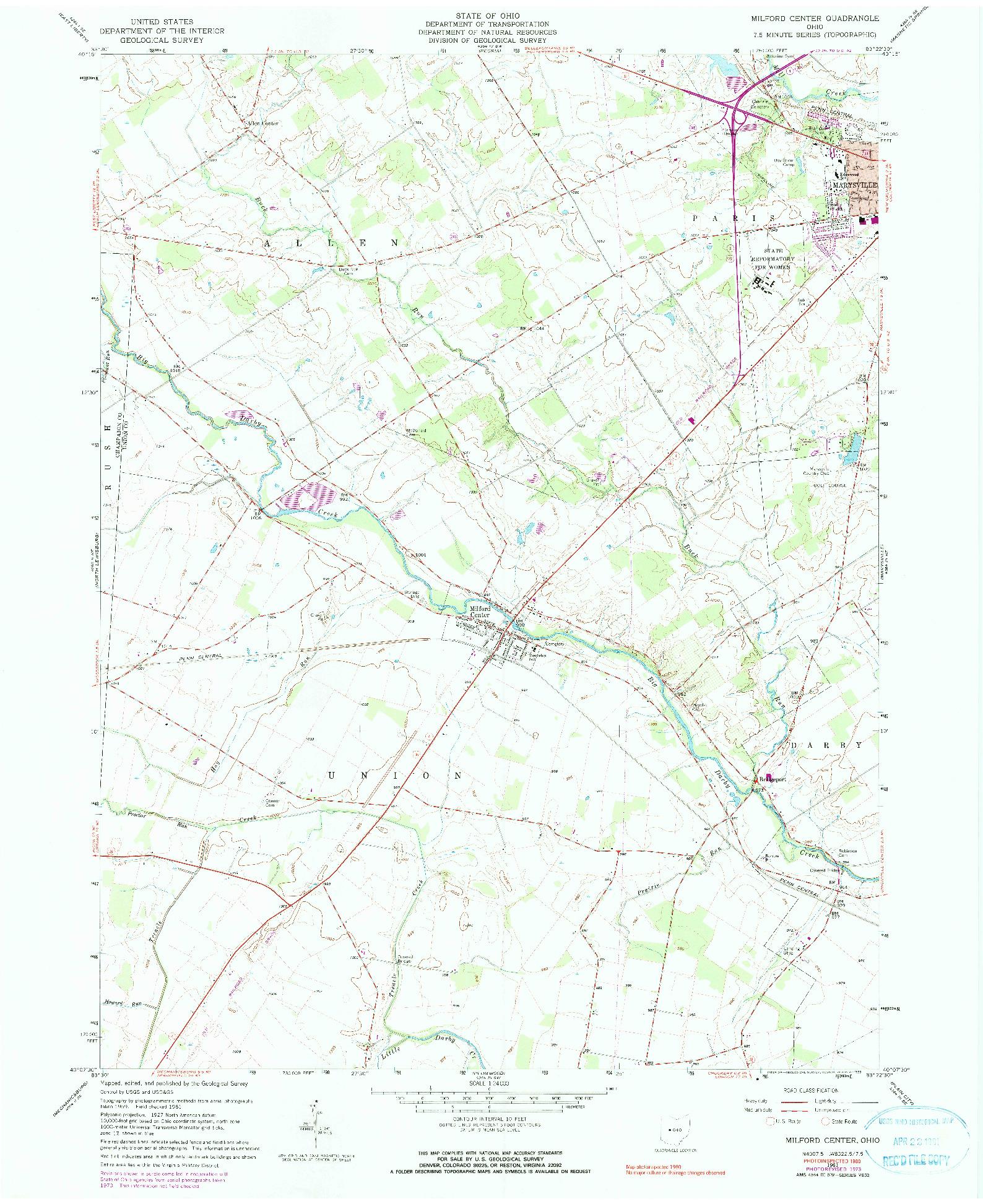 USGS 1:24000-SCALE QUADRANGLE FOR MILFORD CENTER, OH 1961