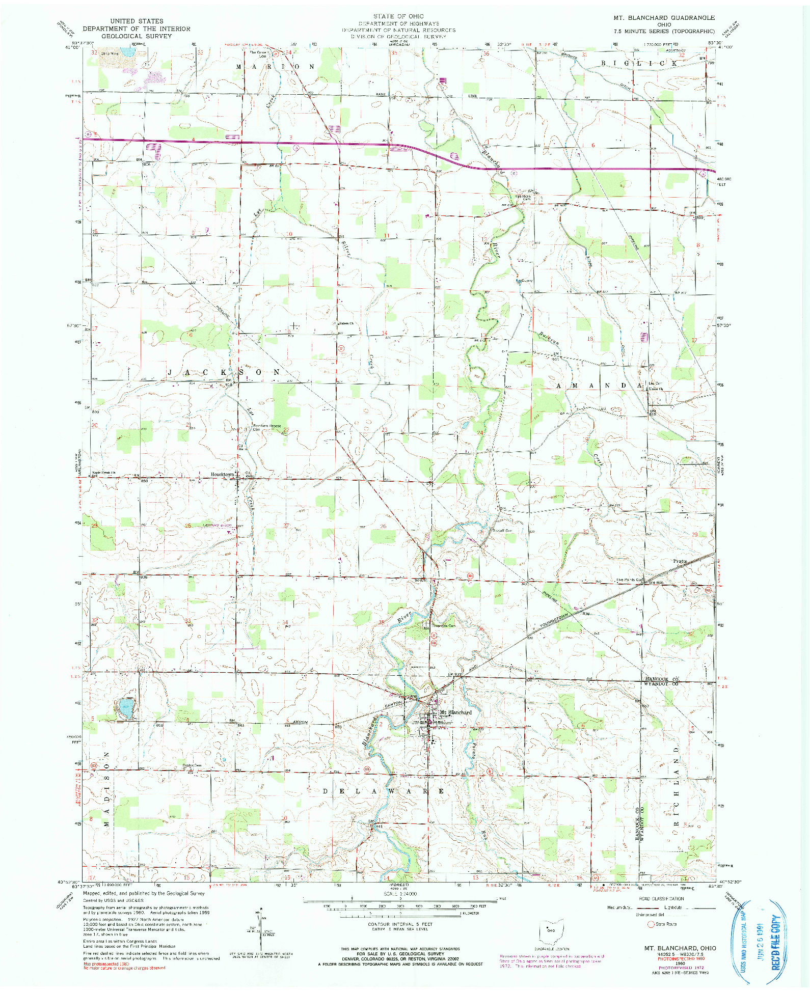 USGS 1:24000-SCALE QUADRANGLE FOR MT BLANCHARD, OH 1960
