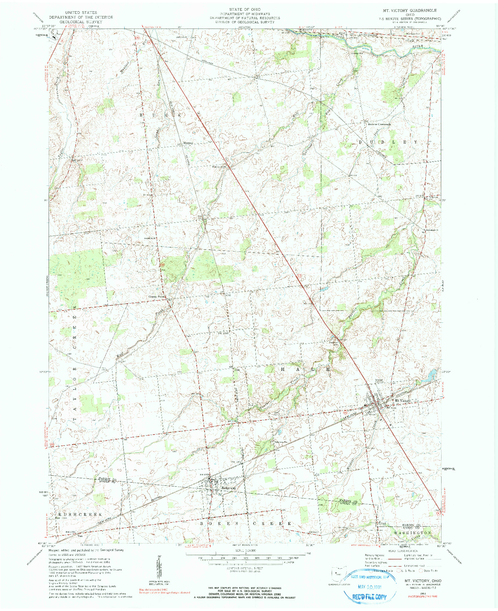 USGS 1:24000-SCALE QUADRANGLE FOR MT. VICTORY, OH 1961
