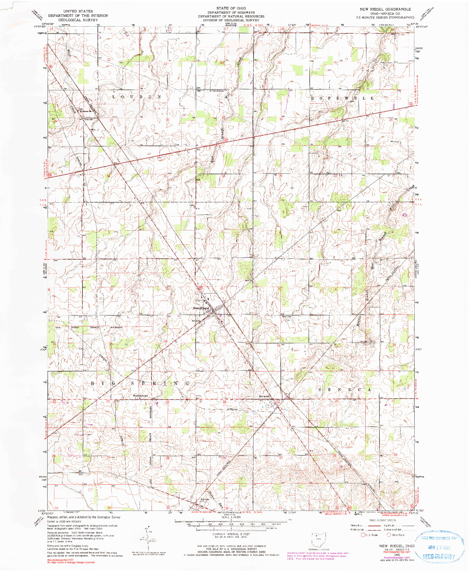 USGS 1:24000-SCALE QUADRANGLE FOR NEW RIEGEL, OH 1960
