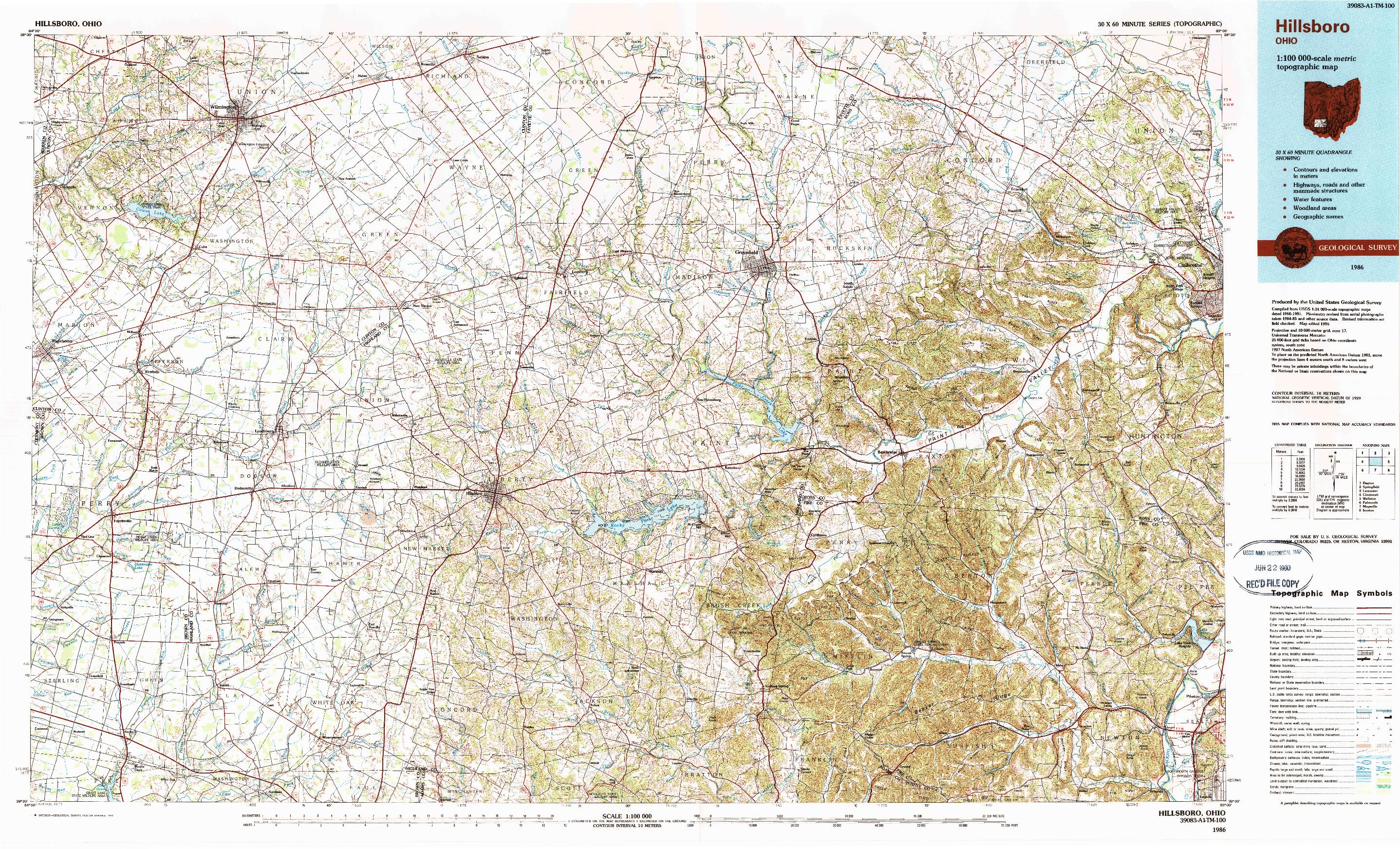 USGS 1:100000-SCALE QUADRANGLE FOR HILLSBORO, OH 1986