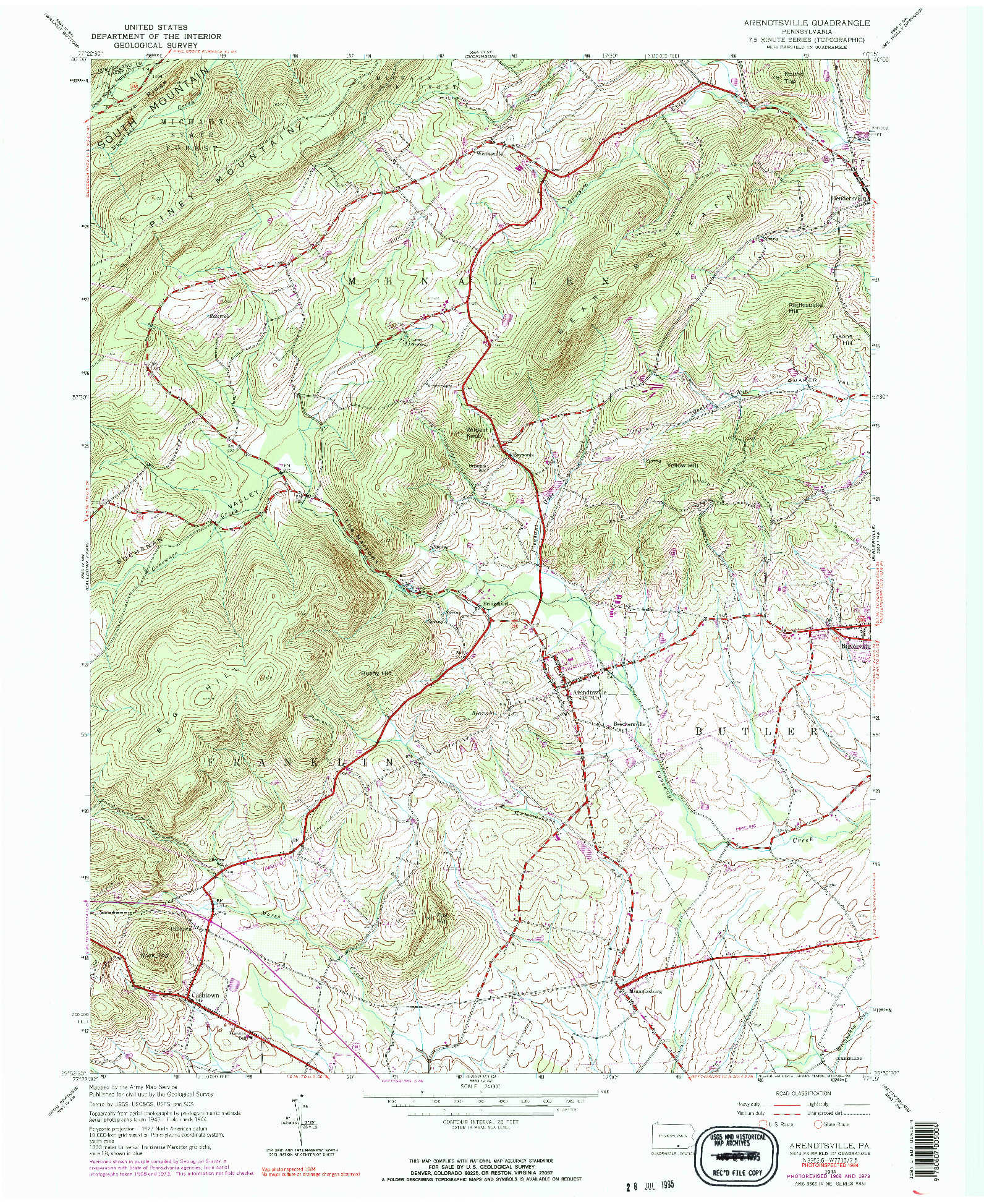 USGS 1:24000-SCALE QUADRANGLE FOR ARENDTSVILLE, PA 1944