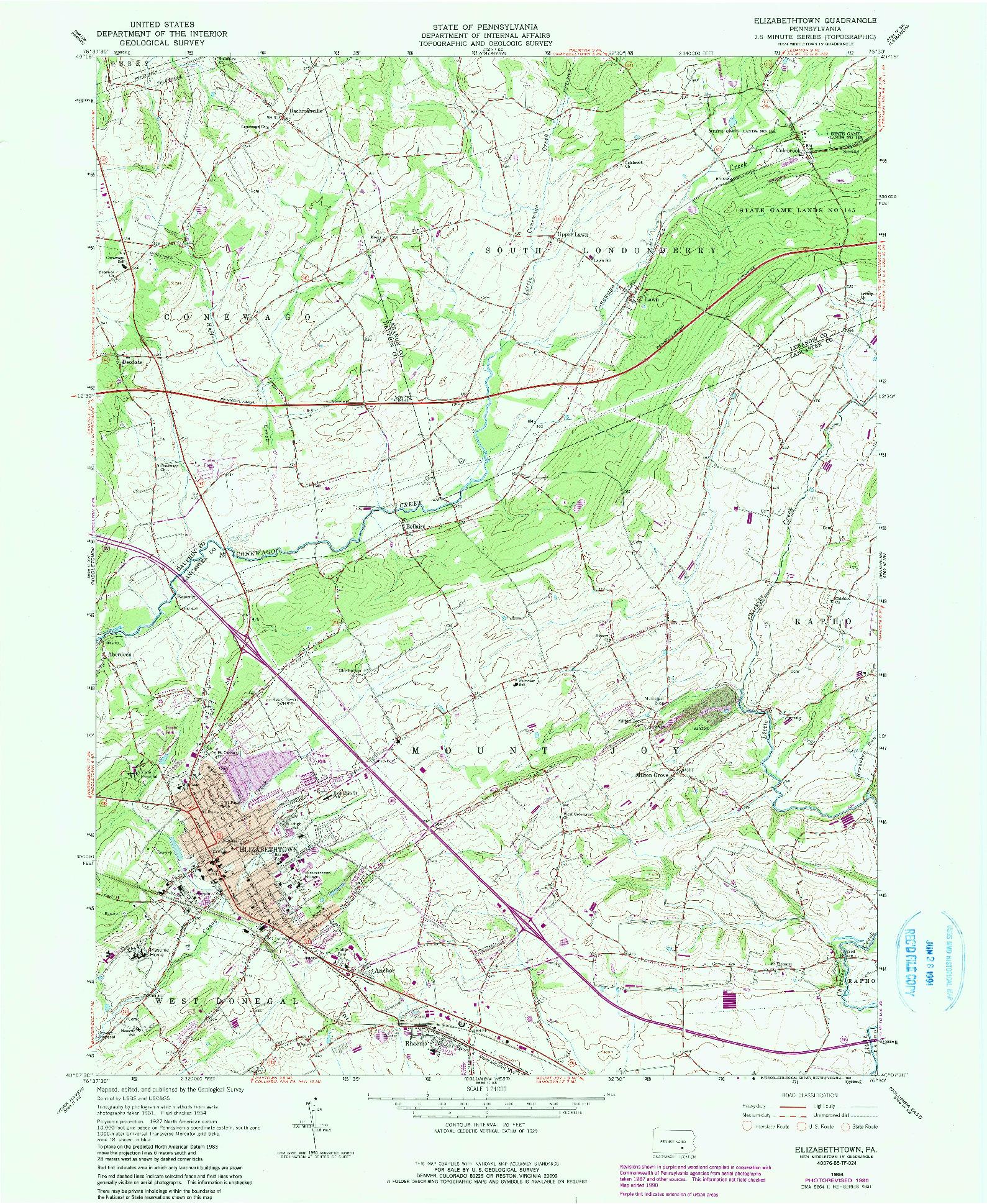 USGS 1:24000-SCALE QUADRANGLE FOR ELIZABETHTOWN, PA 1964