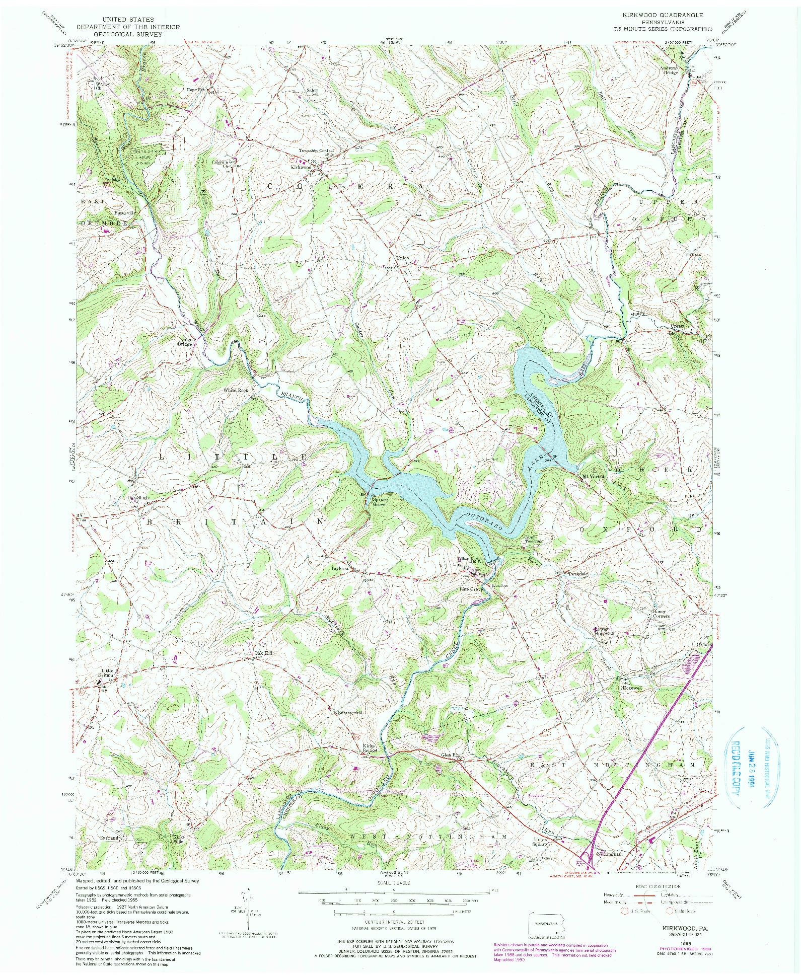 USGS 1:24000-SCALE QUADRANGLE FOR KIRKWOOD, PA 1955