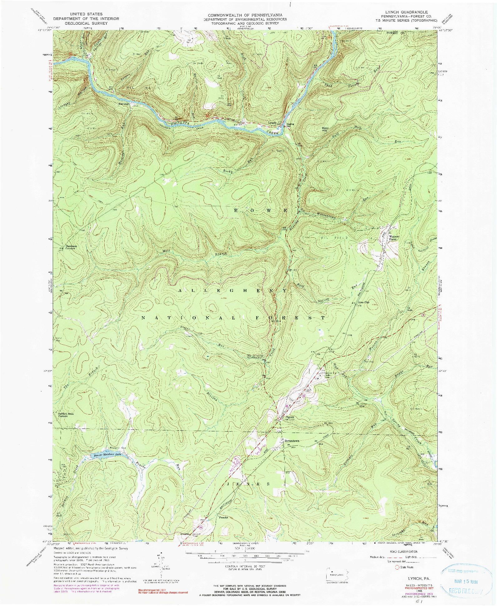 USGS 1:24000-SCALE QUADRANGLE FOR LYNCH, PA 1966