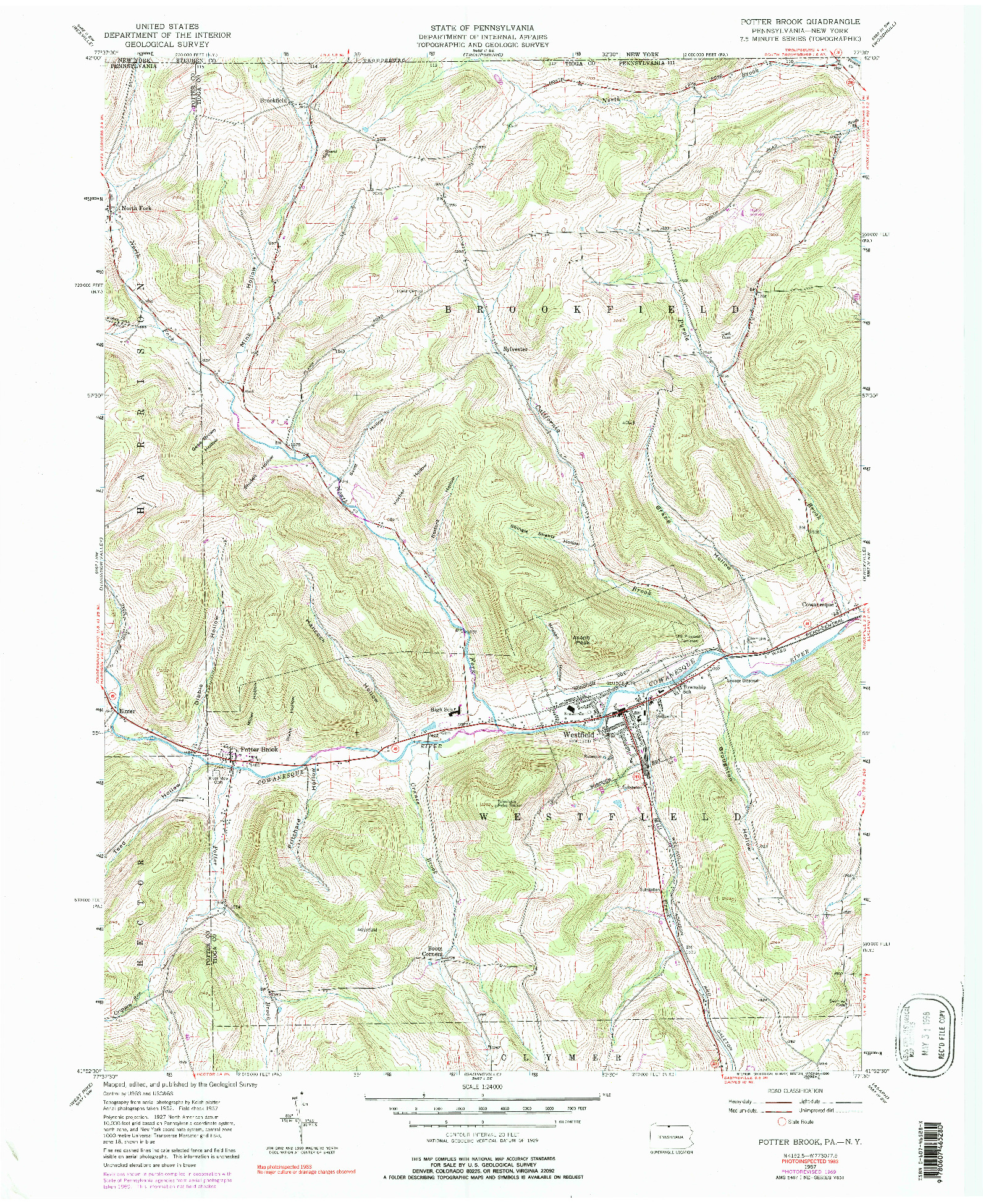 USGS 1:24000-SCALE QUADRANGLE FOR POTTER BROOK, PA 1957