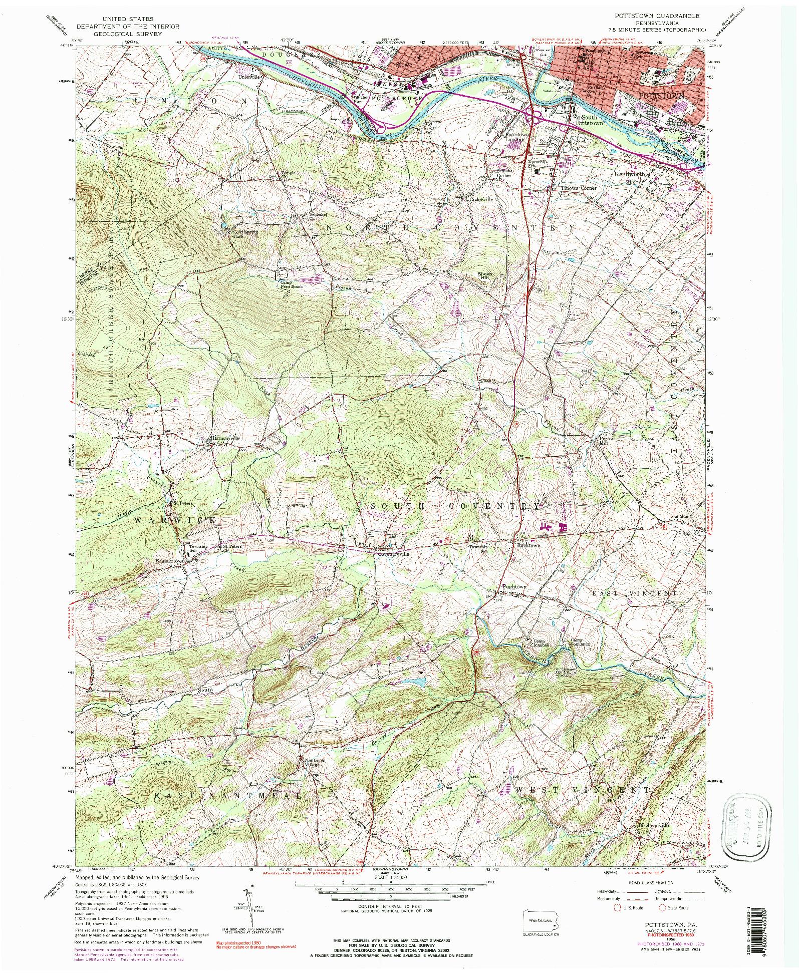 USGS 1:24000-SCALE QUADRANGLE FOR POTTSTOWN, PA 1956