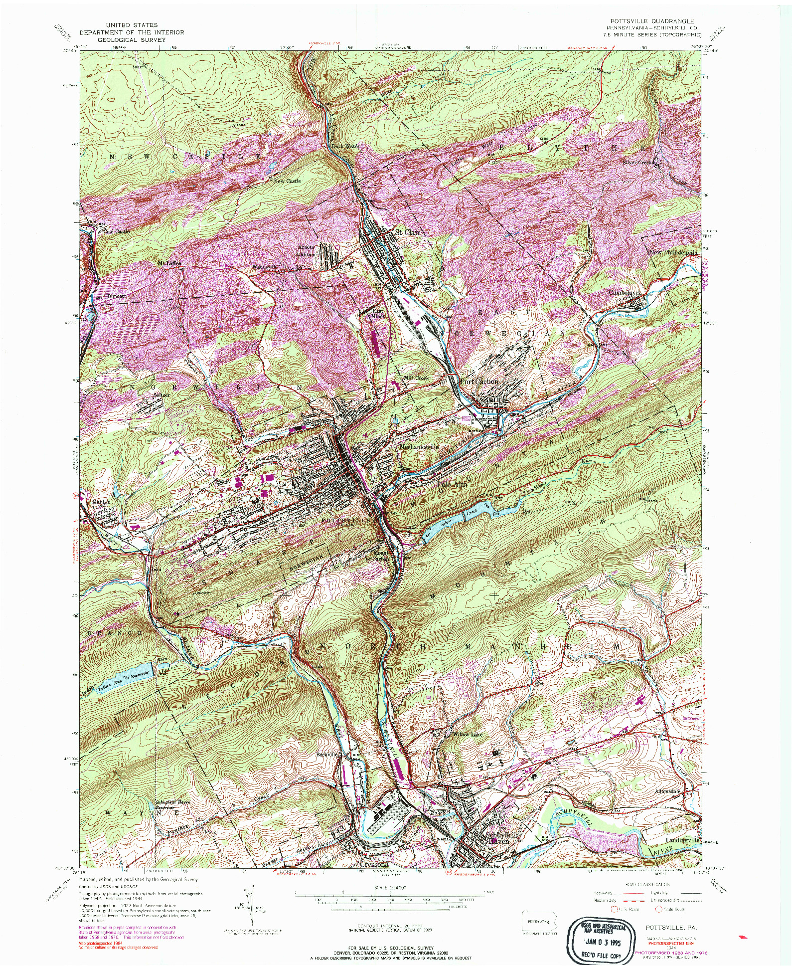 USGS 1:24000-SCALE QUADRANGLE FOR POTTSVILLE, PA 1944