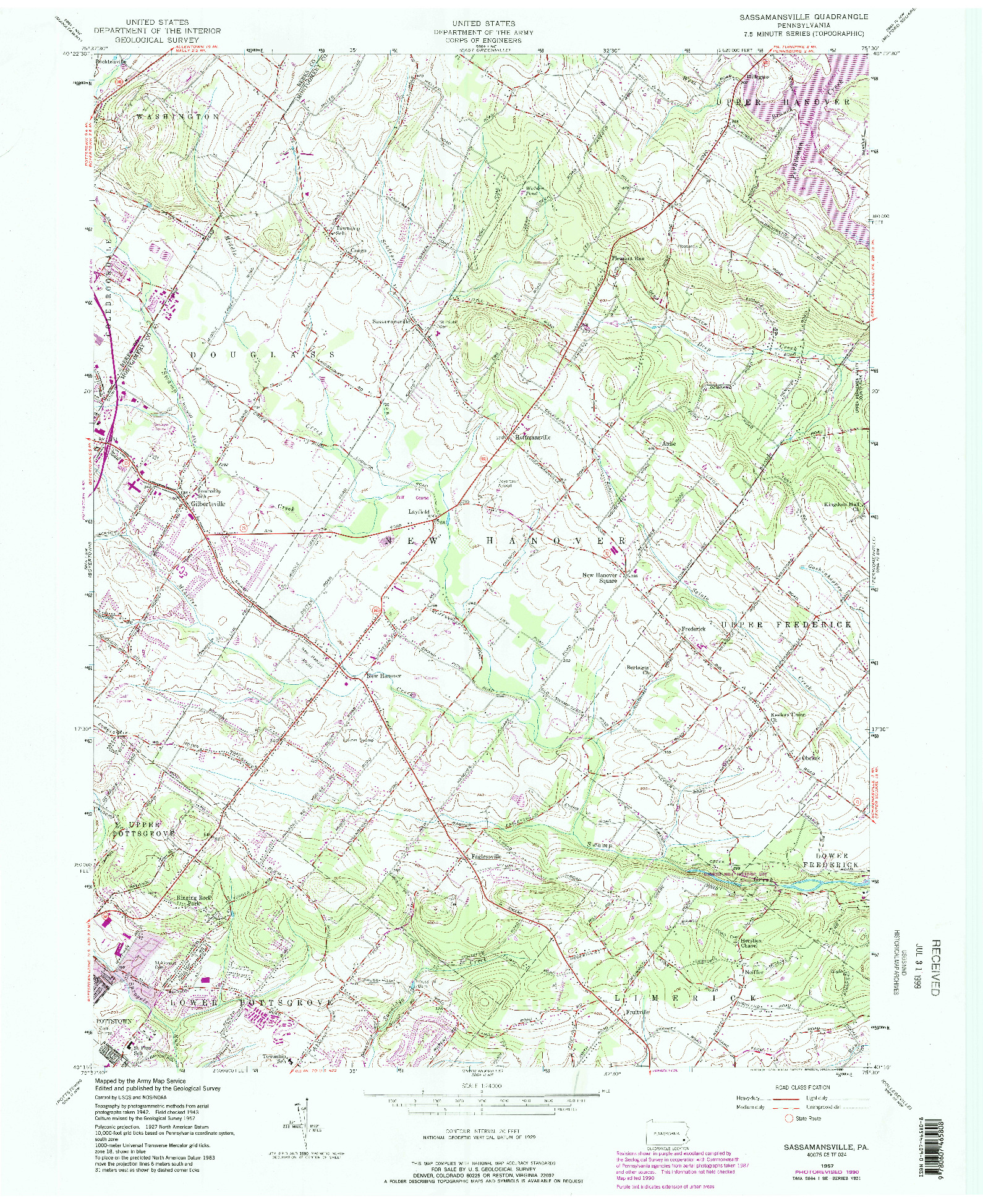 USGS 1:24000-SCALE QUADRANGLE FOR SASSAMANSVILLE, PA 1957