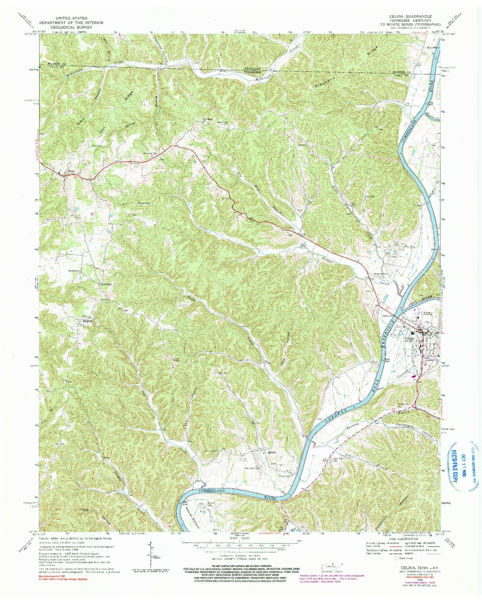 USGS 1:24000-SCALE QUADRANGLE FOR CELINA, TN 1968