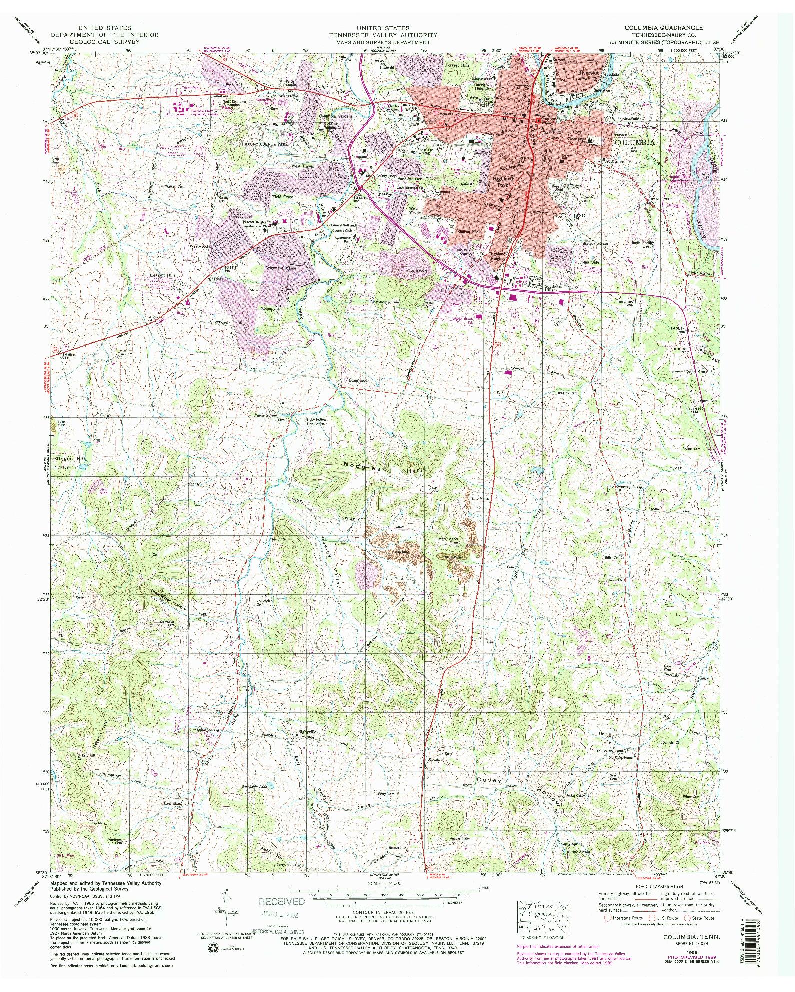 USGS 1:24000-SCALE QUADRANGLE FOR COLUMBIA, TN 1965