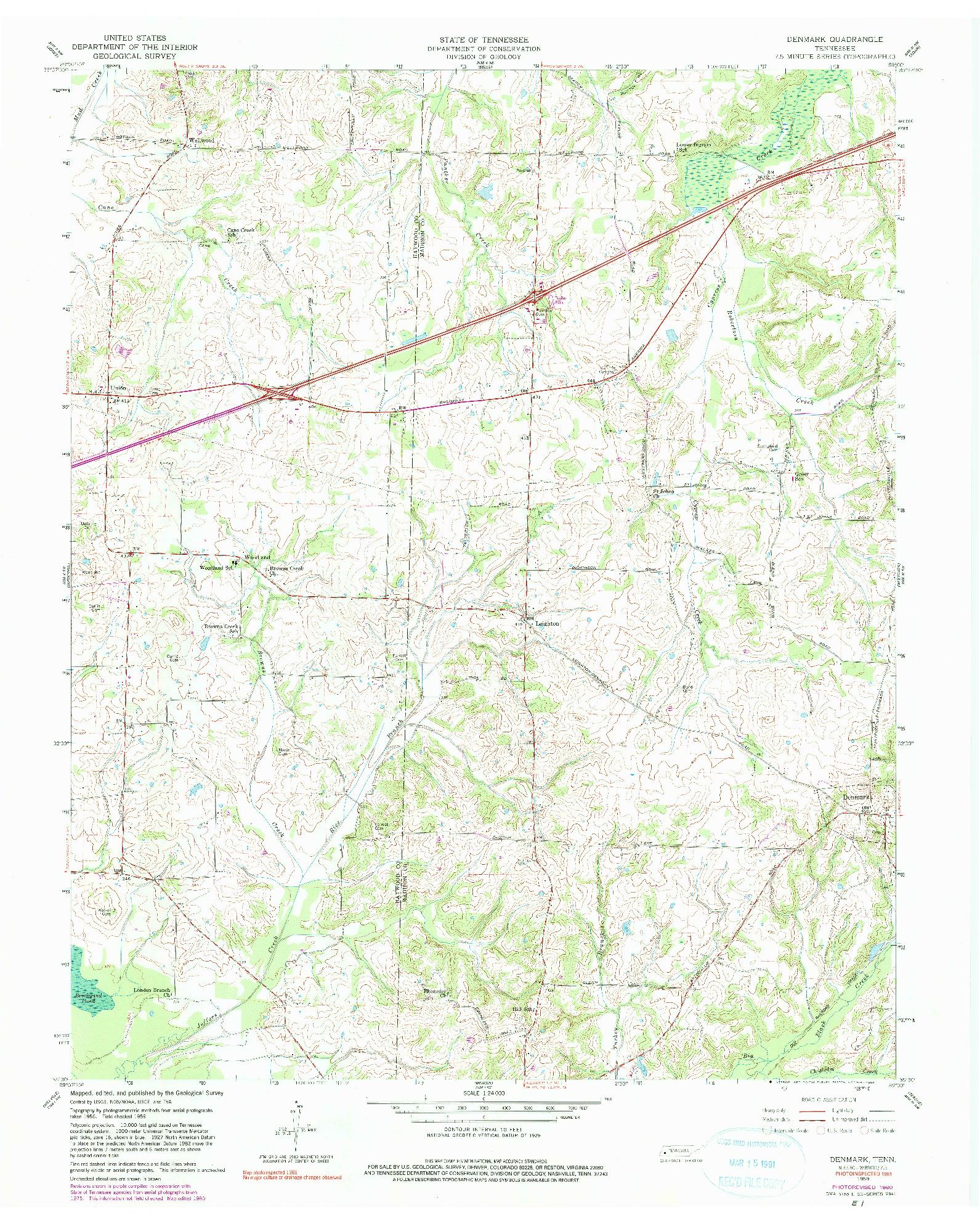 USGS 1:24000-SCALE QUADRANGLE FOR DENMARK, TN 1959