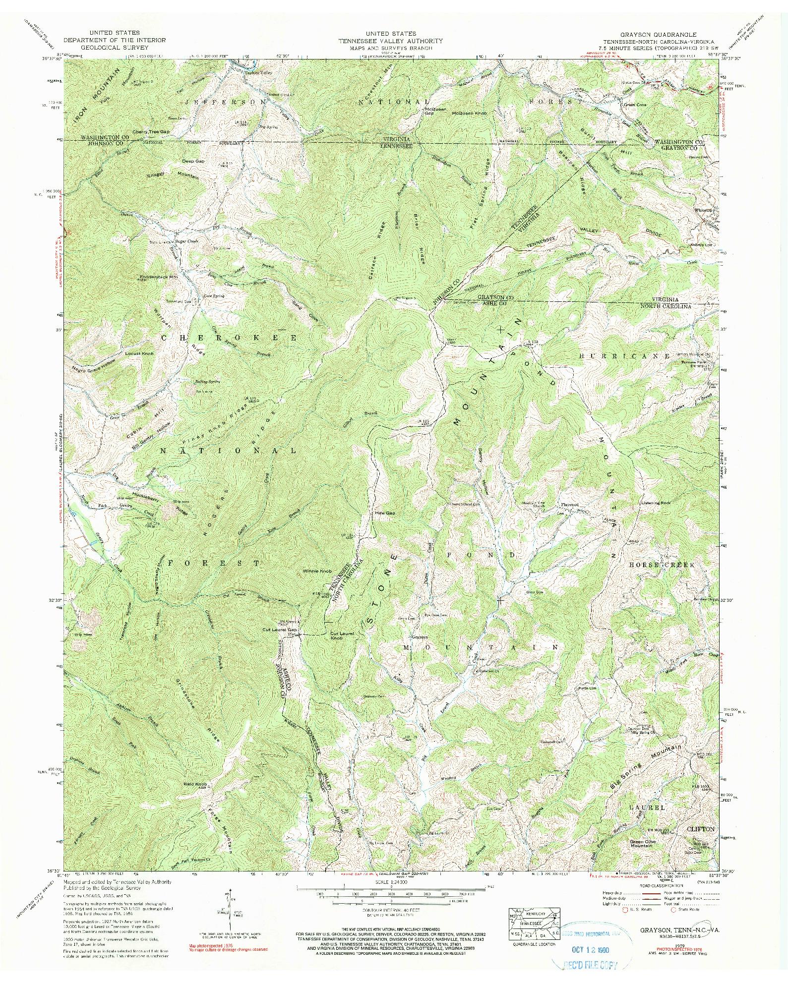 USGS 1:24000-SCALE QUADRANGLE FOR GRAYSON, TN 1959