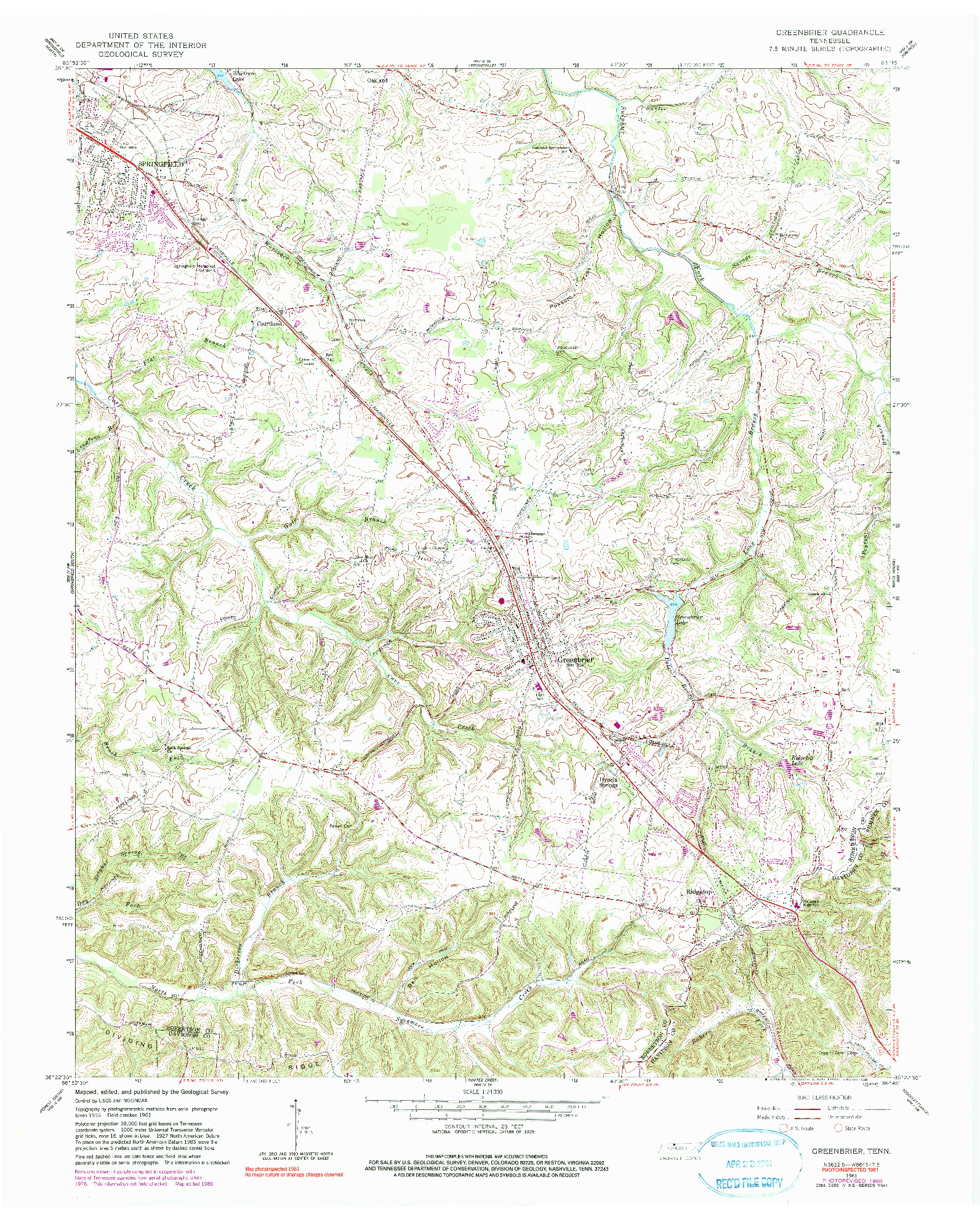 USGS 1:24000-SCALE QUADRANGLE FOR GREENBRIER, TN 1961