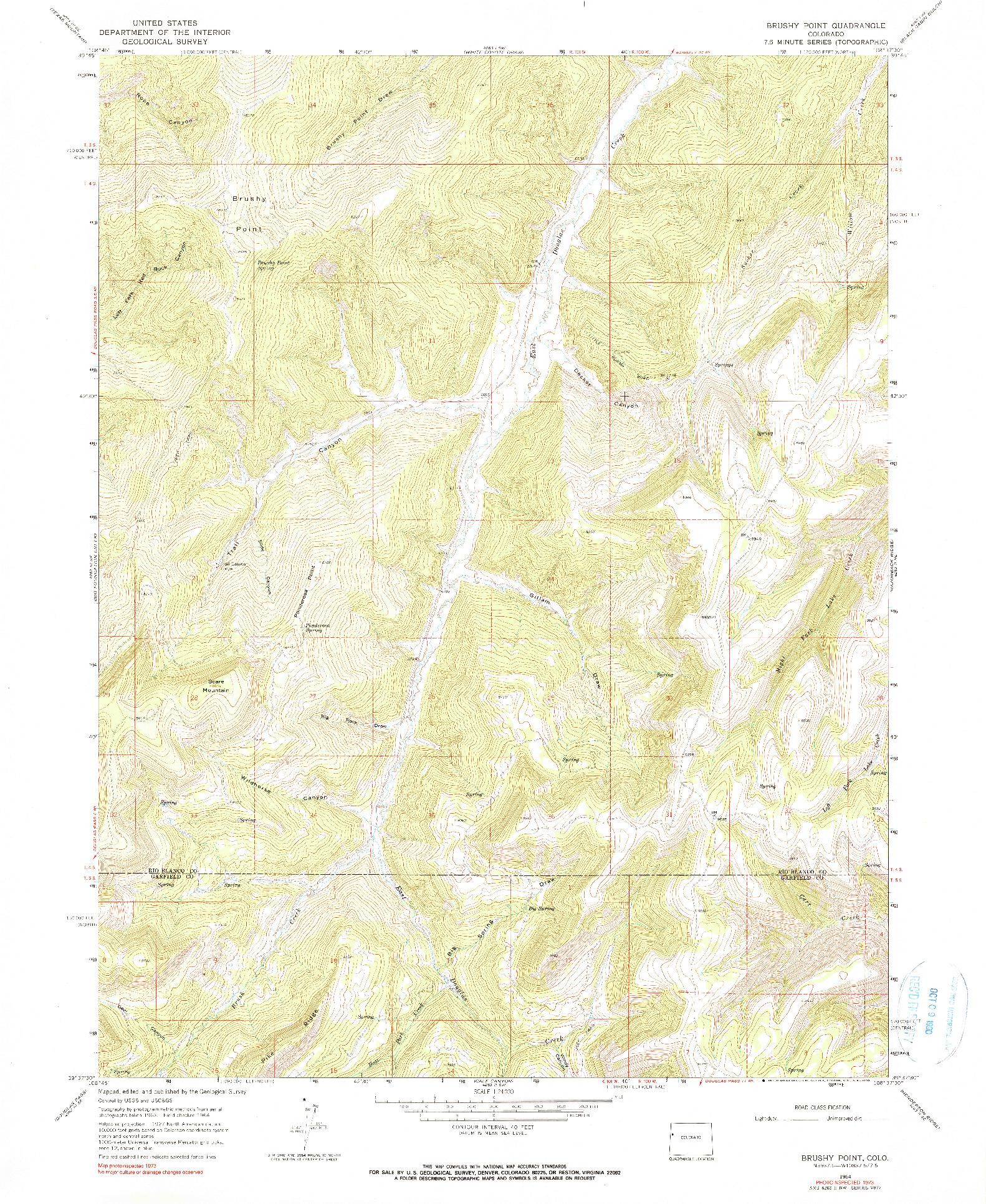 USGS 1:24000-SCALE QUADRANGLE FOR BRUSHY POINT, CO 1964