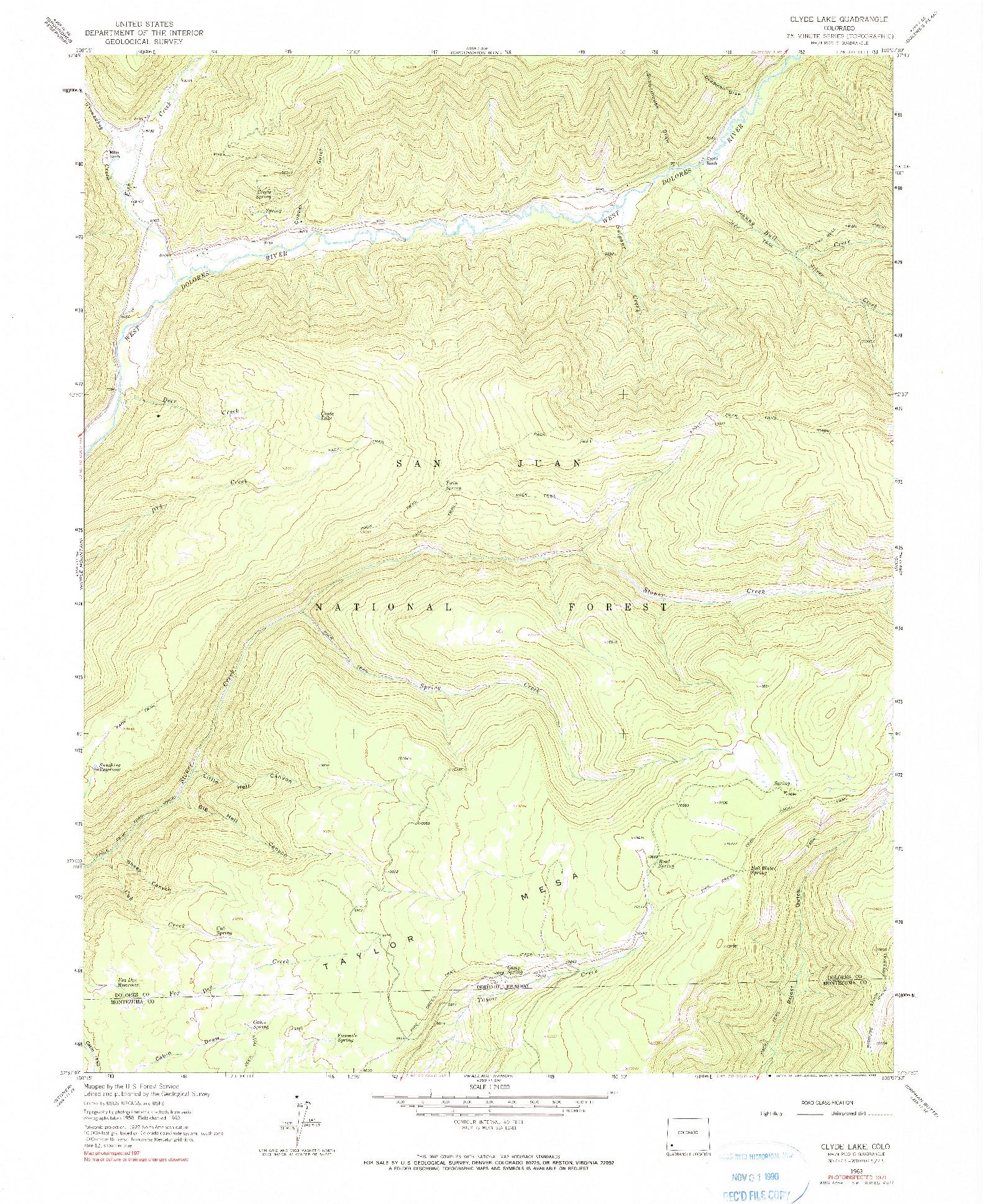 USGS 1:24000-SCALE QUADRANGLE FOR CLYDE LAKE, CO 1963