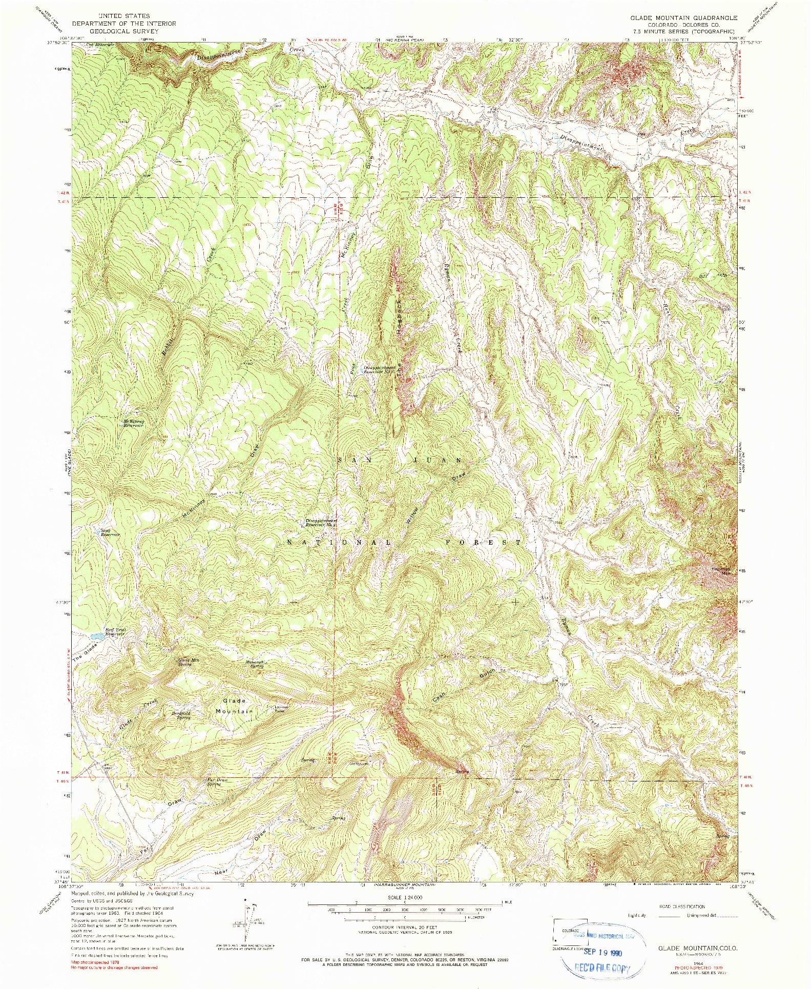 USGS 1:24000-SCALE QUADRANGLE FOR GLADE MOUNTAIN, CO 1964