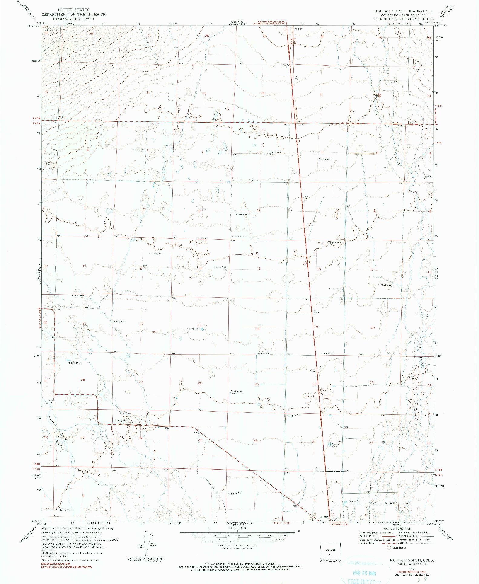 USGS 1:24000-SCALE QUADRANGLE FOR MOFFAT NORTH, CO 1968