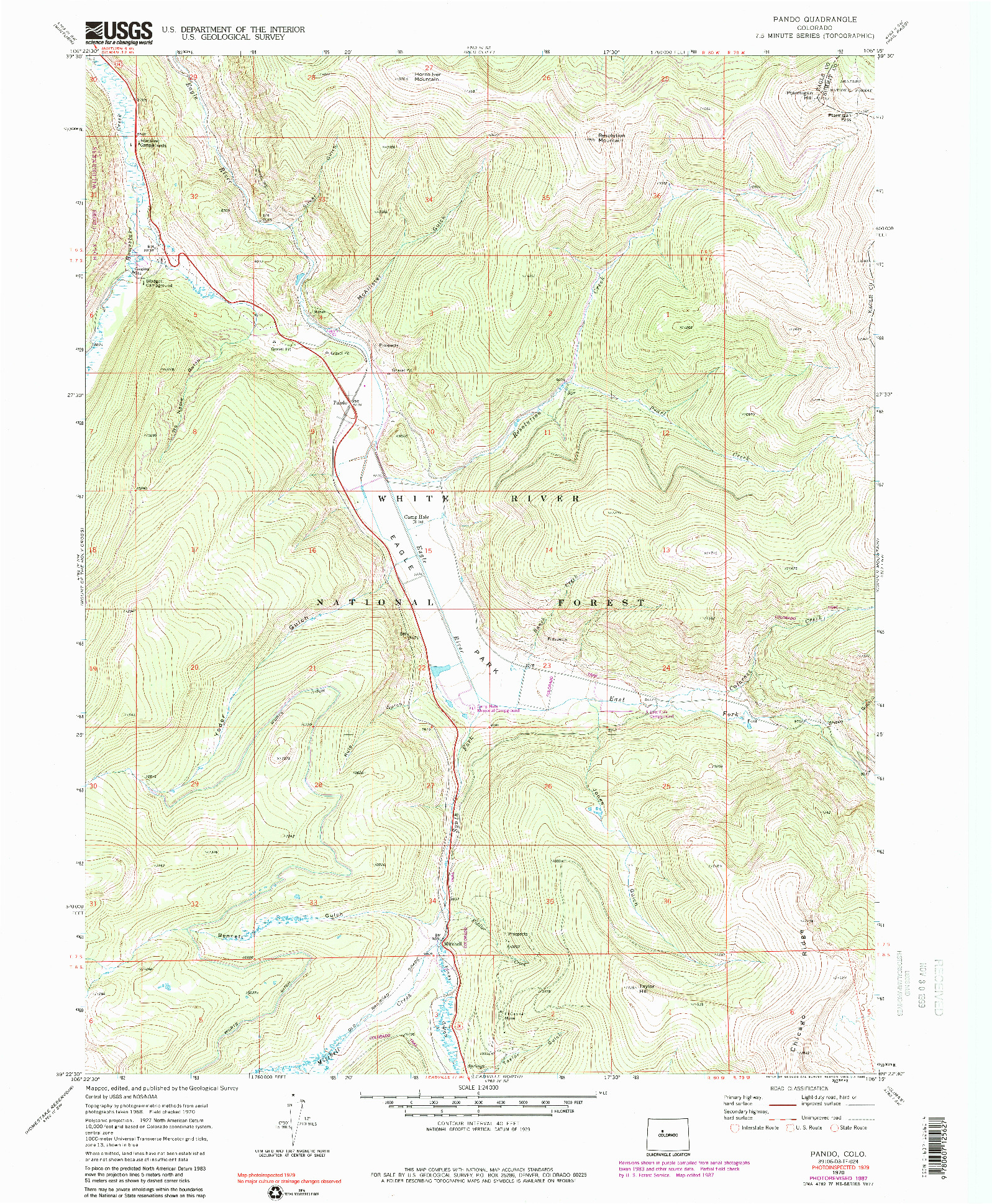 USGS 1:24000-SCALE QUADRANGLE FOR PANDO, CO 1970