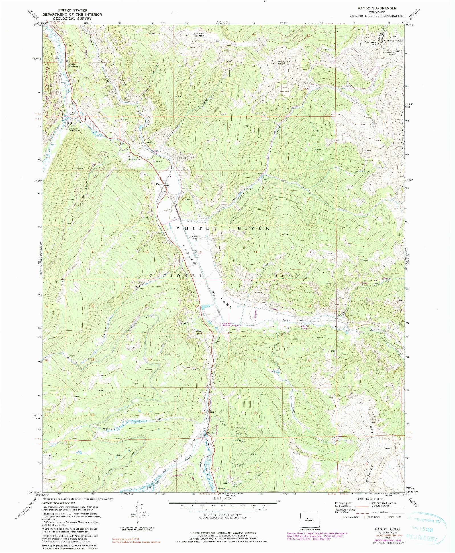 USGS 1:24000-SCALE QUADRANGLE FOR PANDO, CO 1970