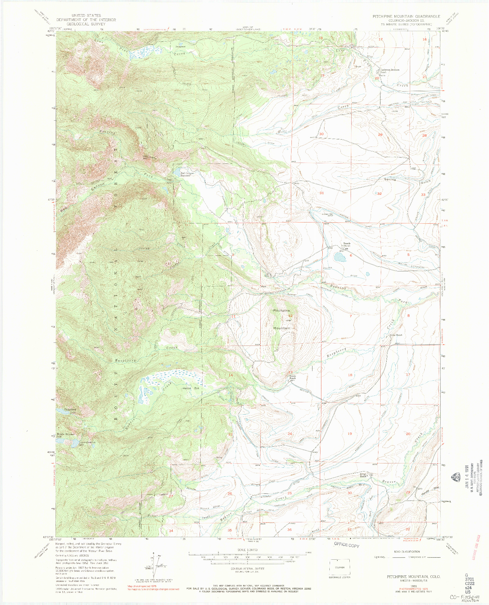 USGS 1:24000-SCALE QUADRANGLE FOR PITCHPINE MOUNTAIN, CO 1955