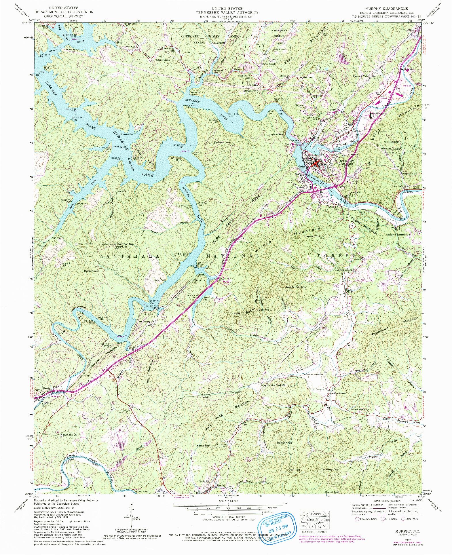 USGS 1:24000-SCALE QUADRANGLE FOR MURPHY, NC 1957