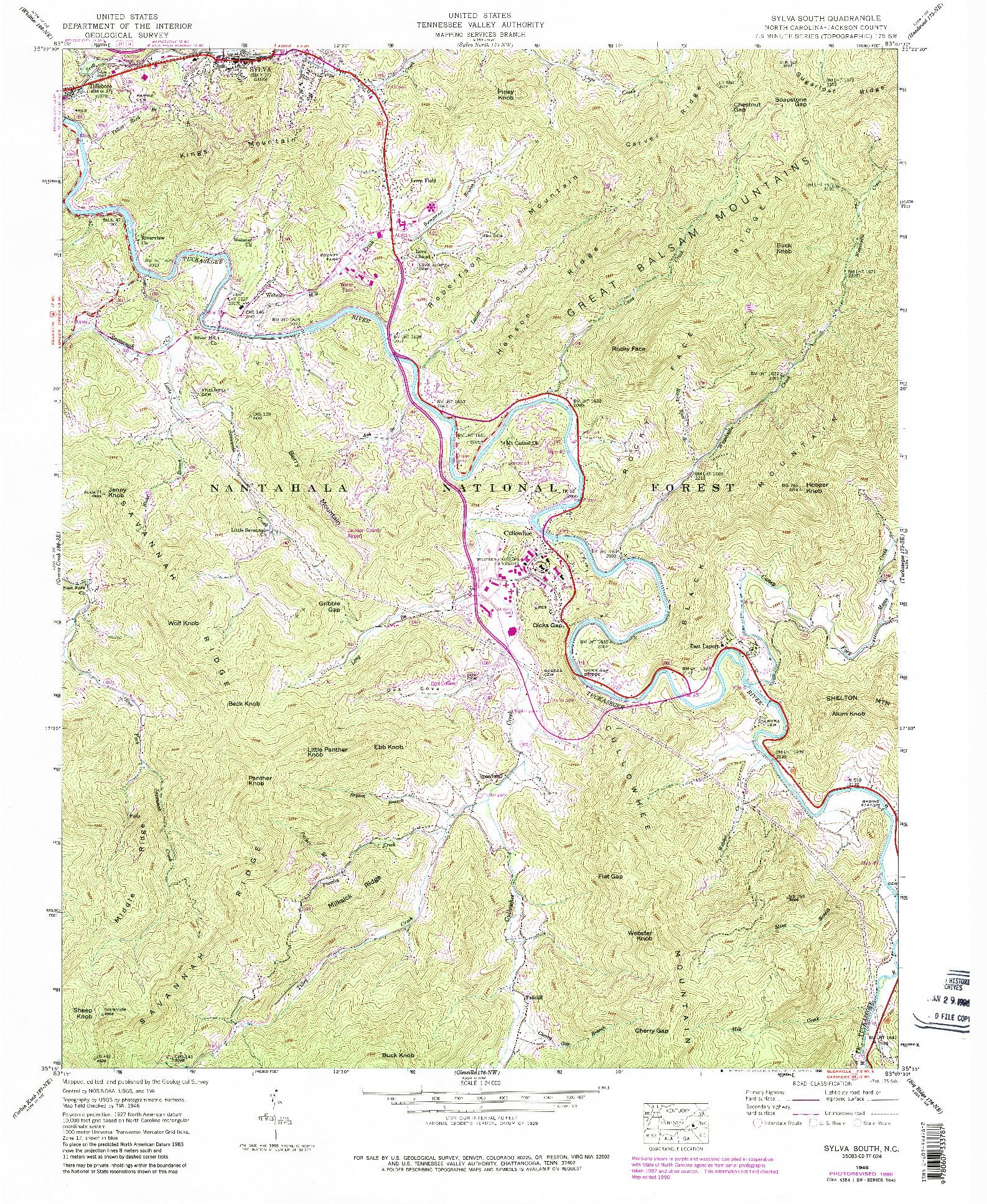 USGS 1:24000-SCALE QUADRANGLE FOR SYLVA SOUTH, NC 1946