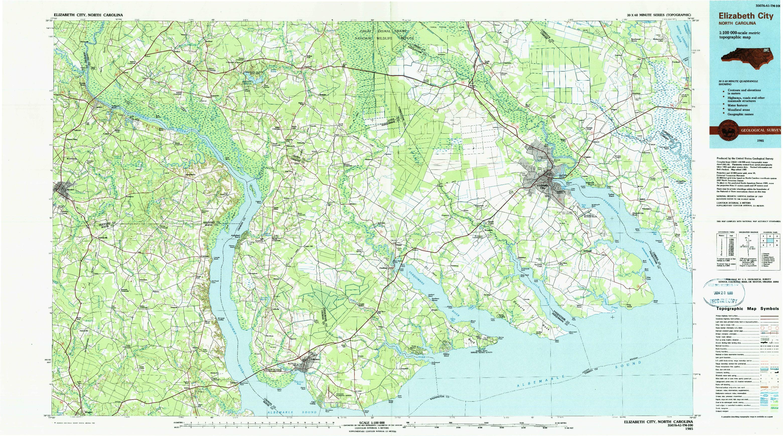 USGS 1:100000-SCALE QUADRANGLE FOR ELIZABETH CITY, NC 1985