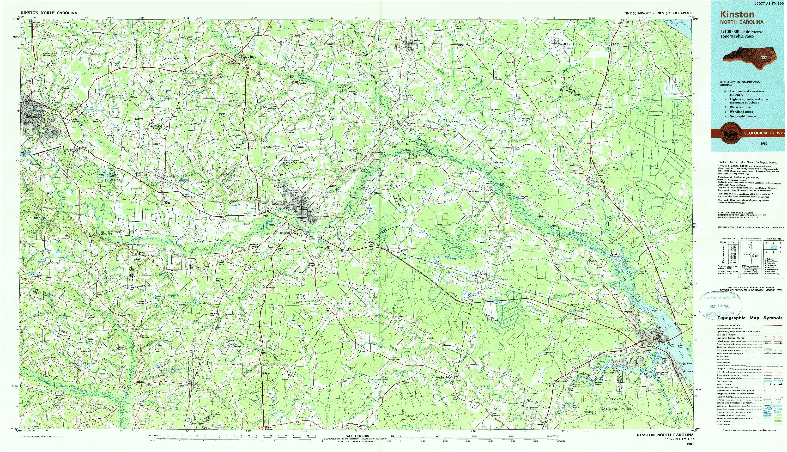 USGS 1:100000-SCALE QUADRANGLE FOR KINSTON, NC 1985