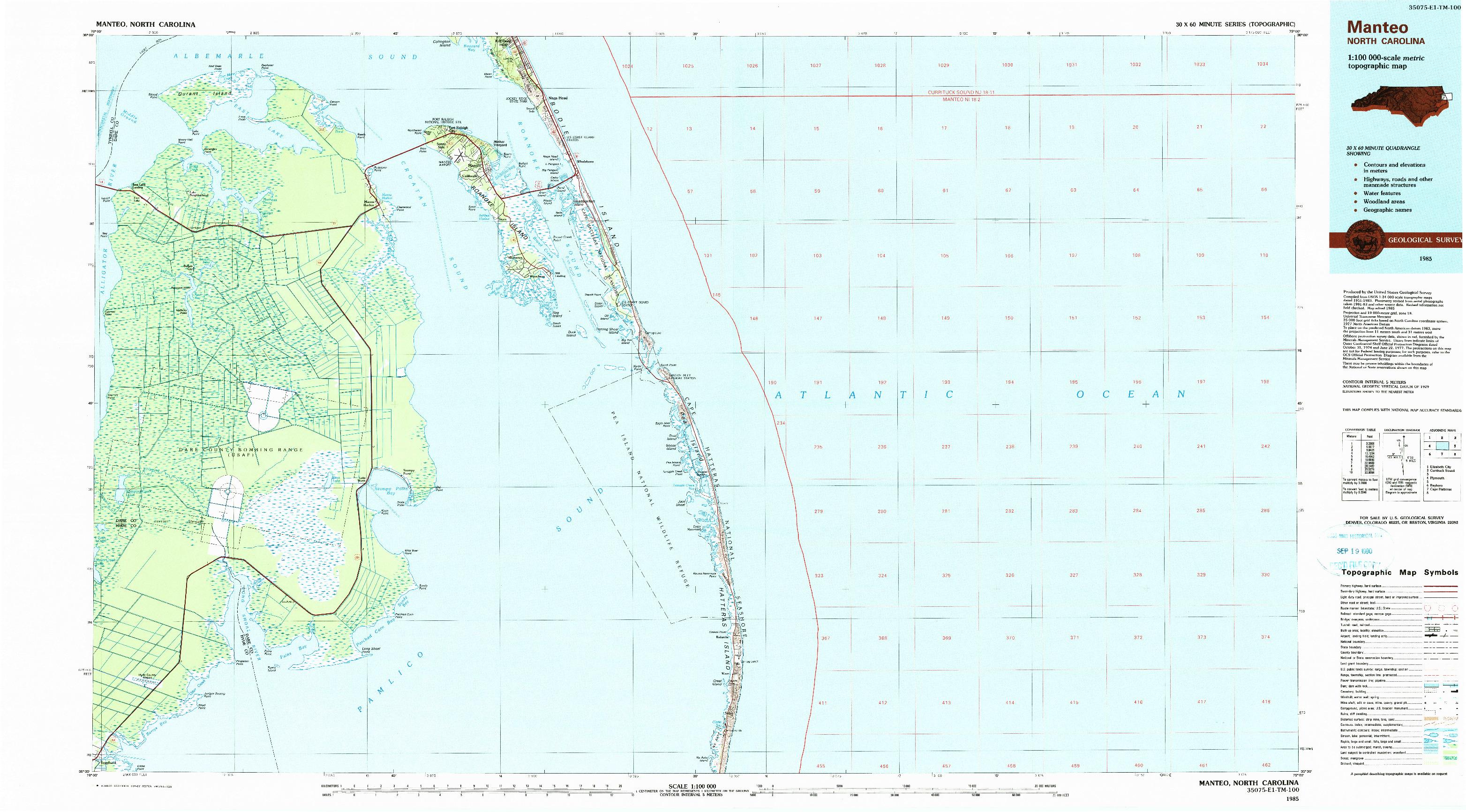 USGS 1:100000-SCALE QUADRANGLE FOR MANTEO, NC 1985