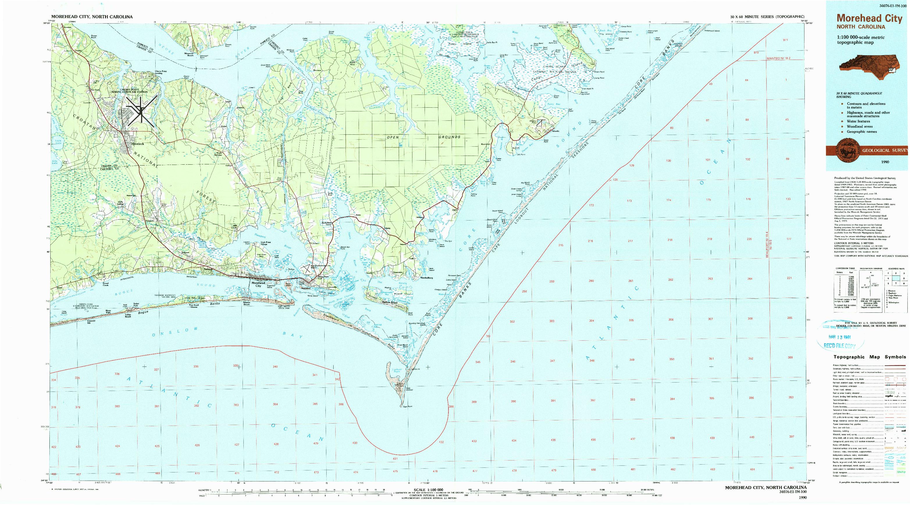 USGS 1:100000-SCALE QUADRANGLE FOR MOREHEAD CITY, NC 1990