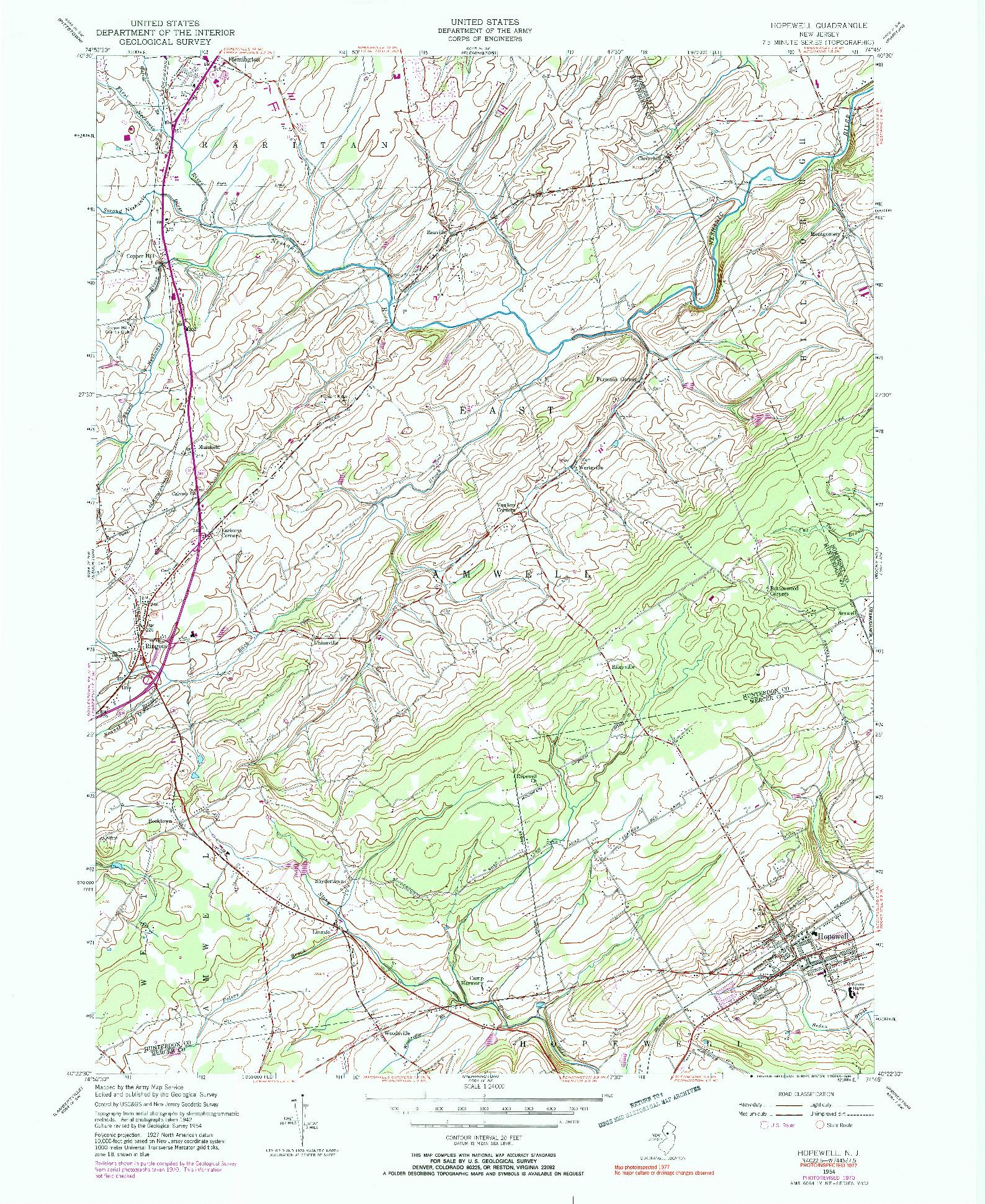 USGS 1:24000-SCALE QUADRANGLE FOR HOPEWELL, NJ 1954