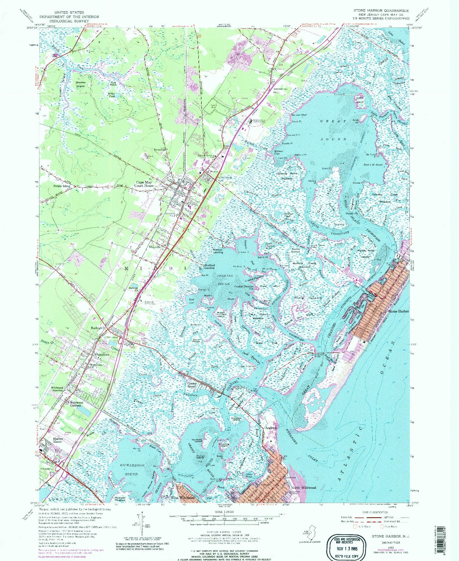USGS 1:24000-SCALE QUADRANGLE FOR STONE HARBOR, NJ 1955