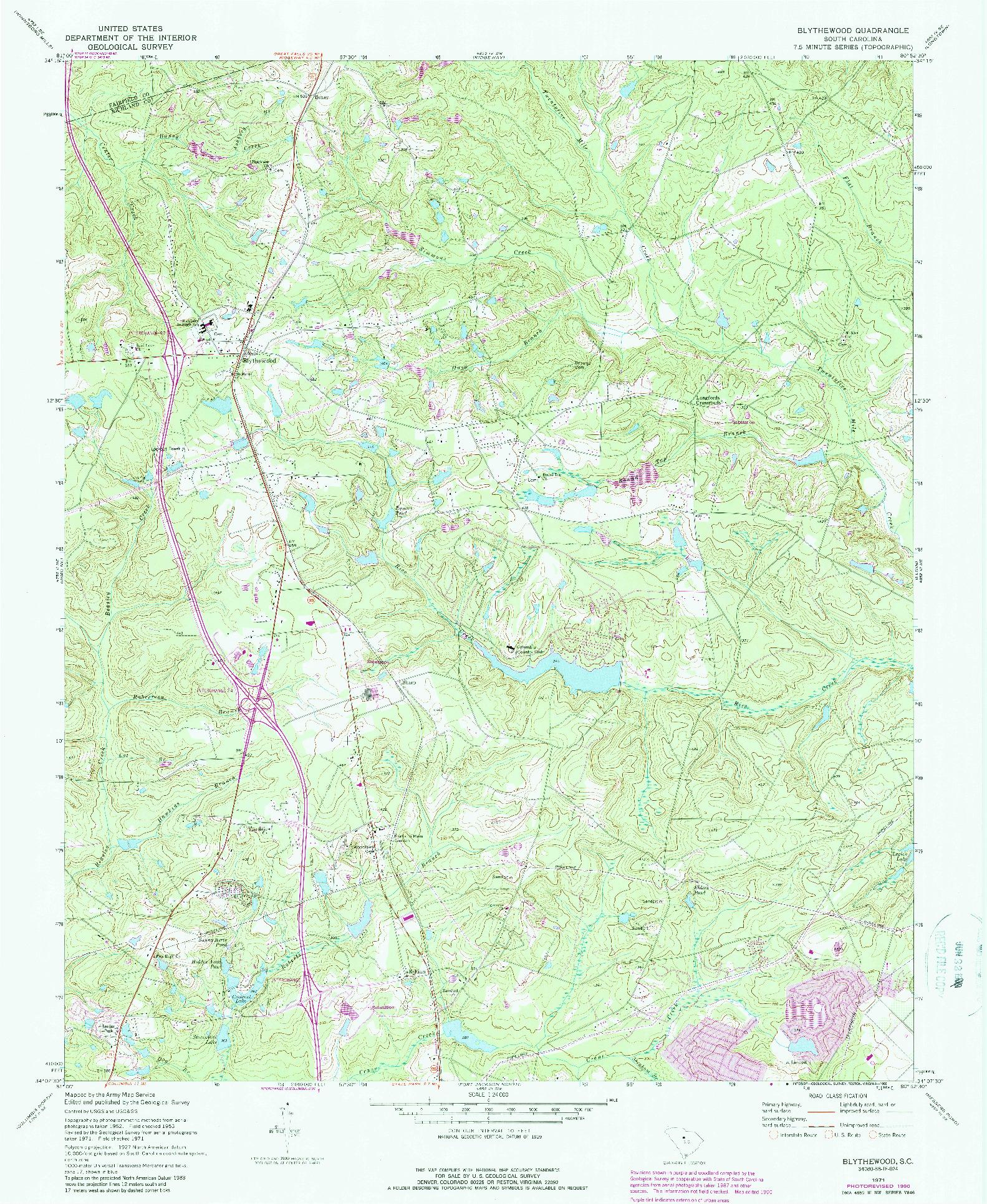 USGS 1:24000-SCALE QUADRANGLE FOR BLYTHEWOOD, SC 1971
