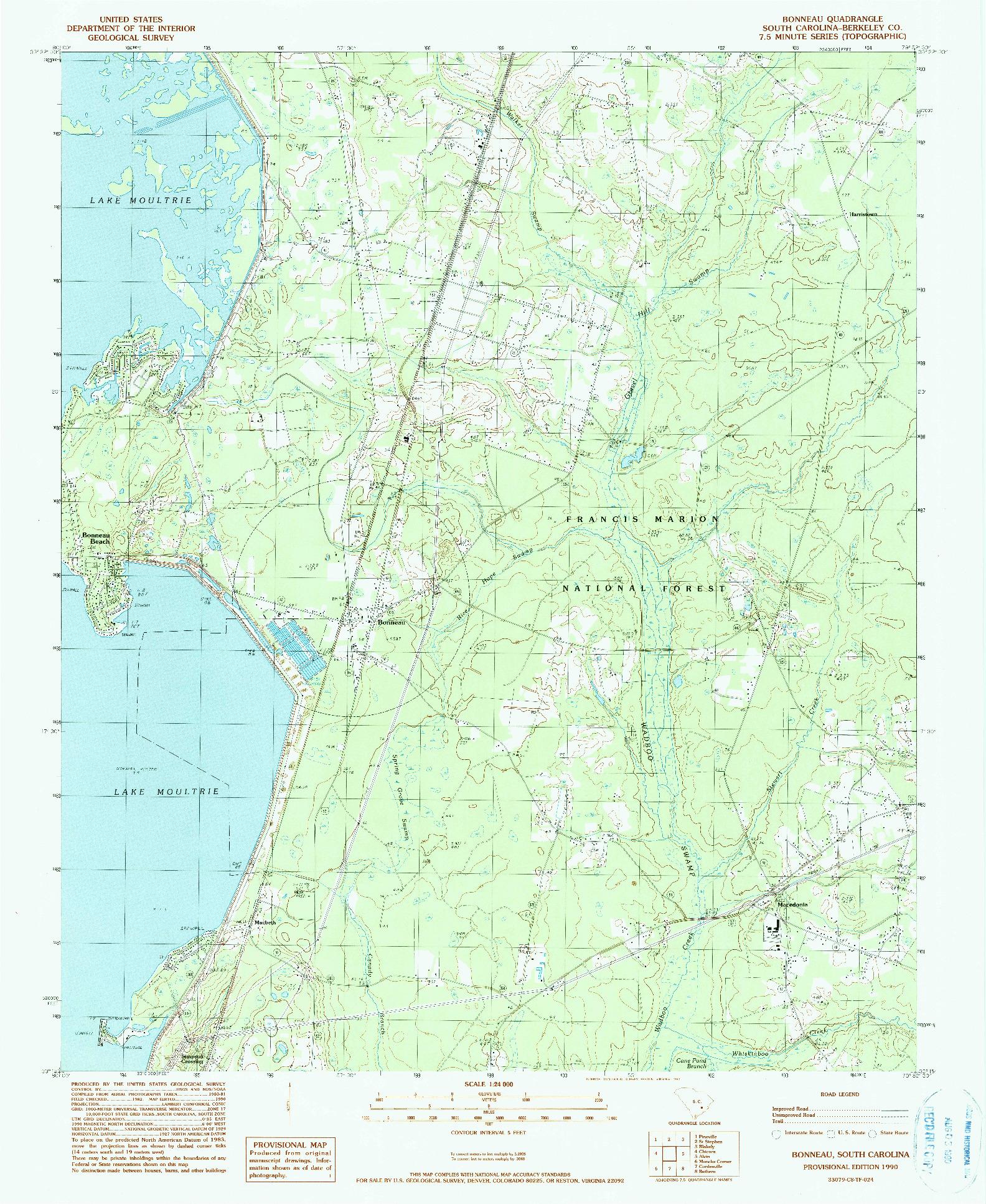USGS 1:24000-SCALE QUADRANGLE FOR BONNEAU, SC 1990