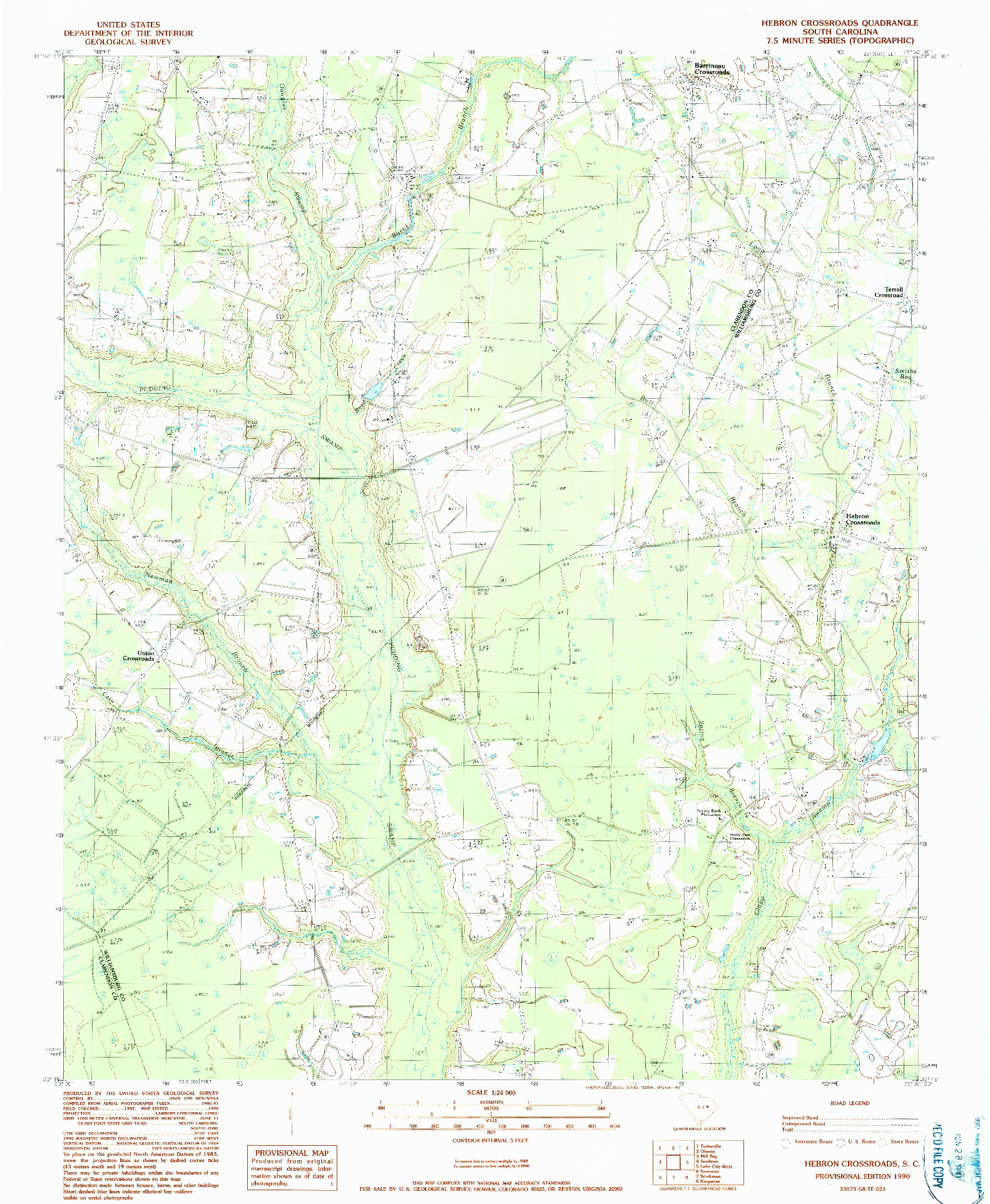 USGS 1:24000-SCALE QUADRANGLE FOR HEBRON CROSSROADS, SC 1990
