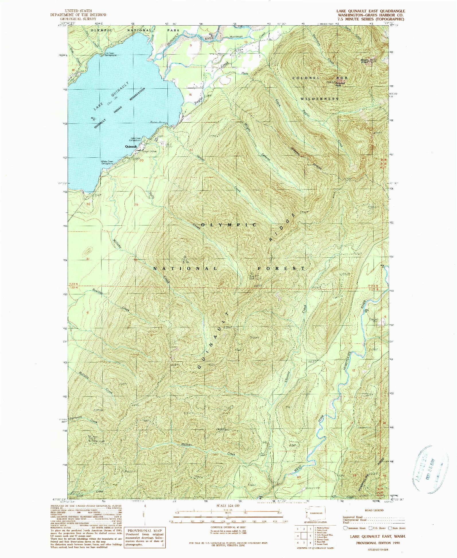 USGS 1:24000-SCALE QUADRANGLE FOR LAKE QUINAULT EAST, WA 1990