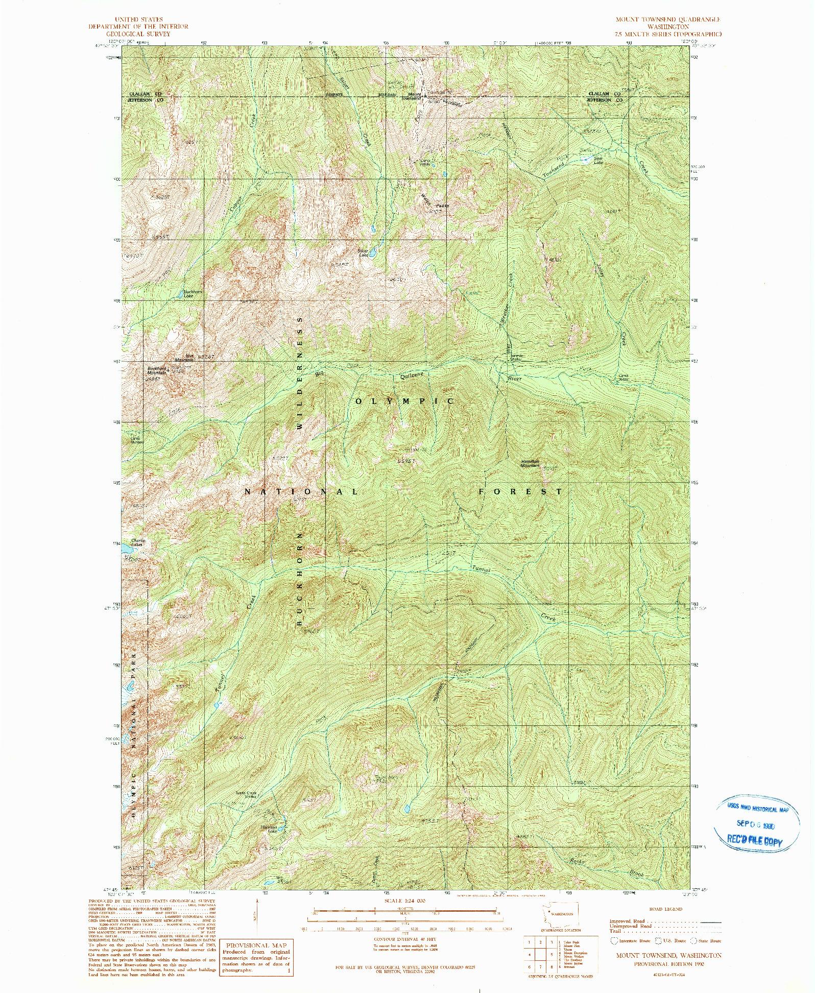 USGS 1:24000-SCALE QUADRANGLE FOR MOUNT TOWNSEND, WA 1990
