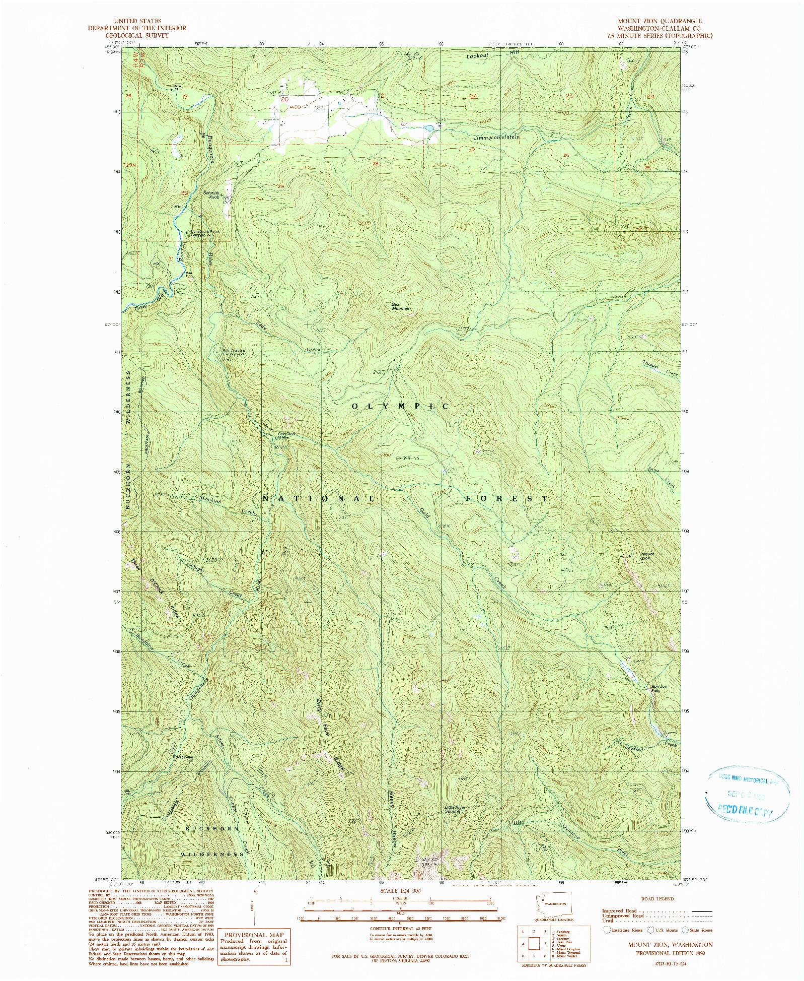 USGS 1:24000-SCALE QUADRANGLE FOR MOUNT ZION, WA 1990