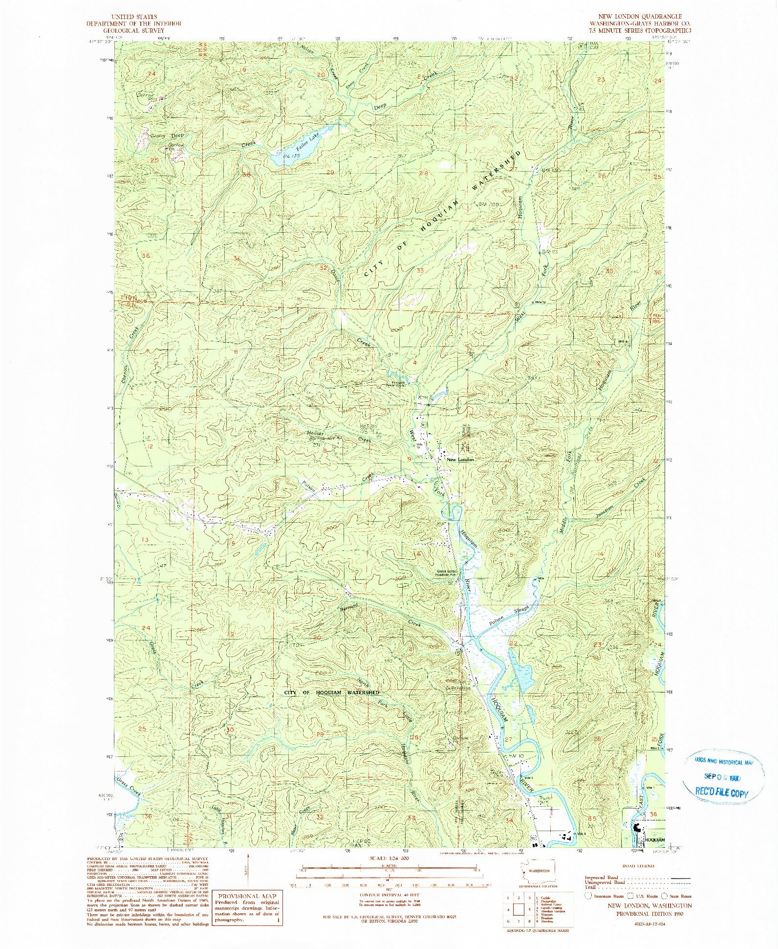 USGS 1:24000-SCALE QUADRANGLE FOR NEW LONDON, WA 1990