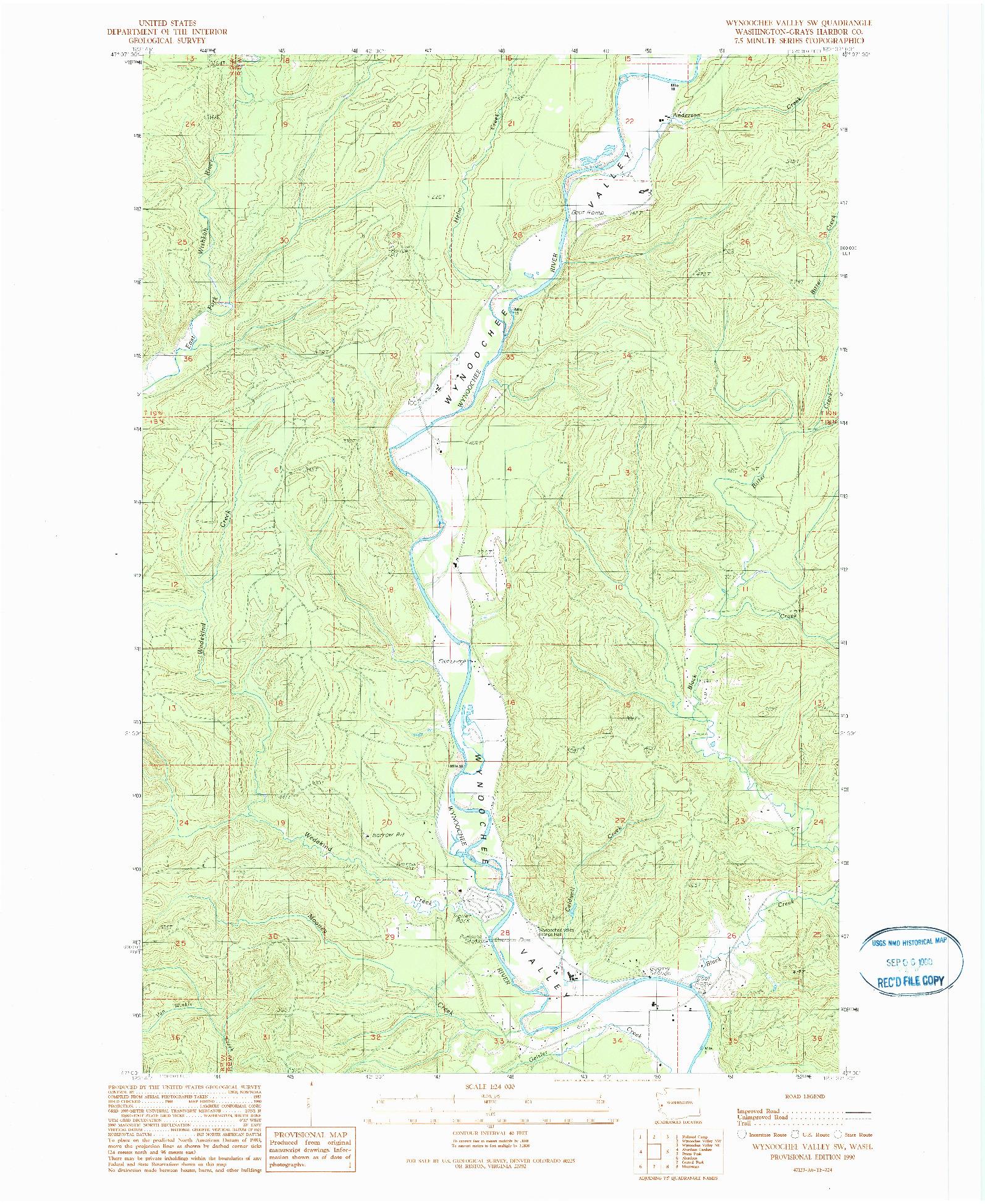 USGS 1:24000-SCALE QUADRANGLE FOR WYNOOCHEE VALLEY SW, WA 1990