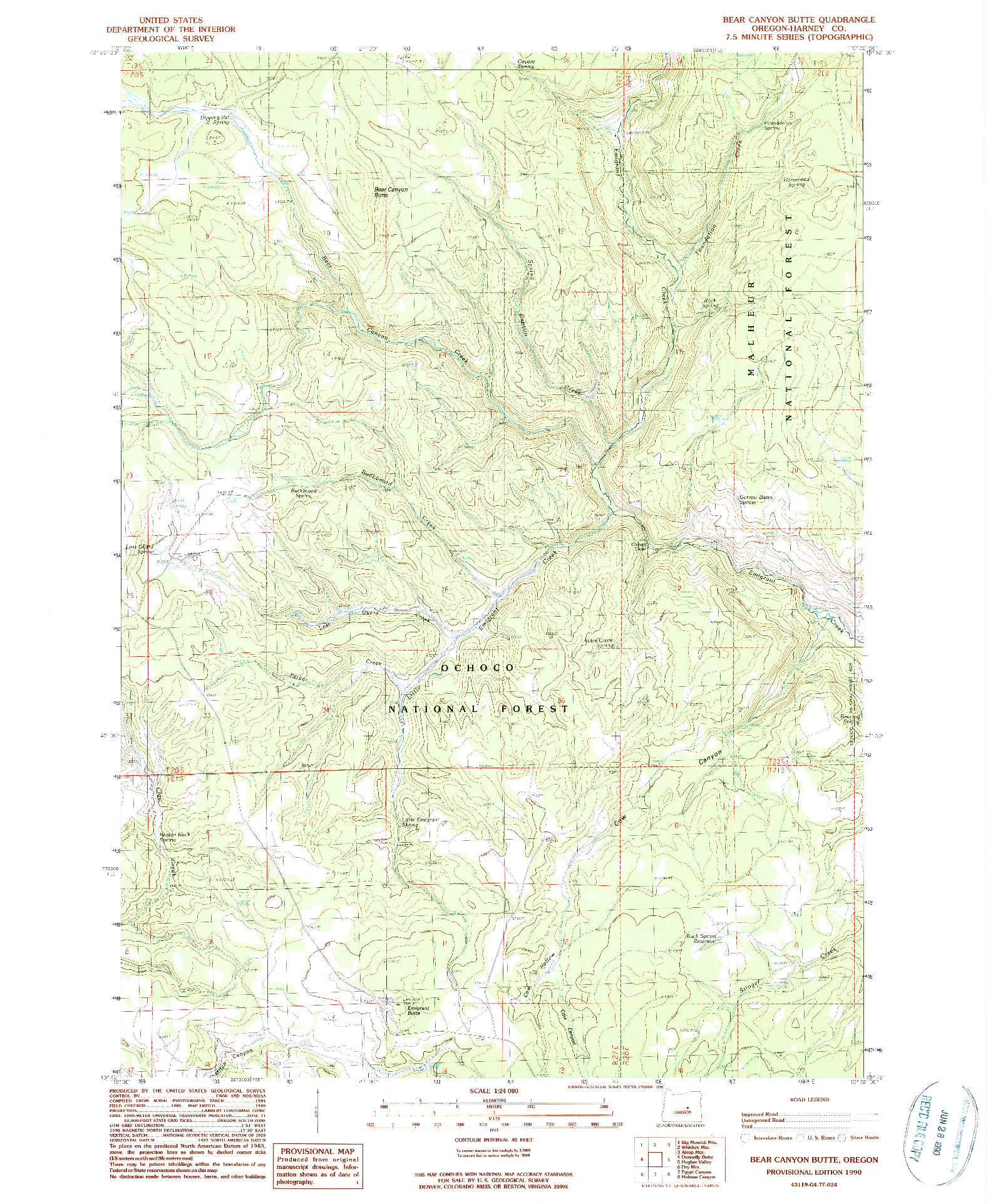USGS 1:24000-SCALE QUADRANGLE FOR BEAR CANYON BUTTE, OR 1990