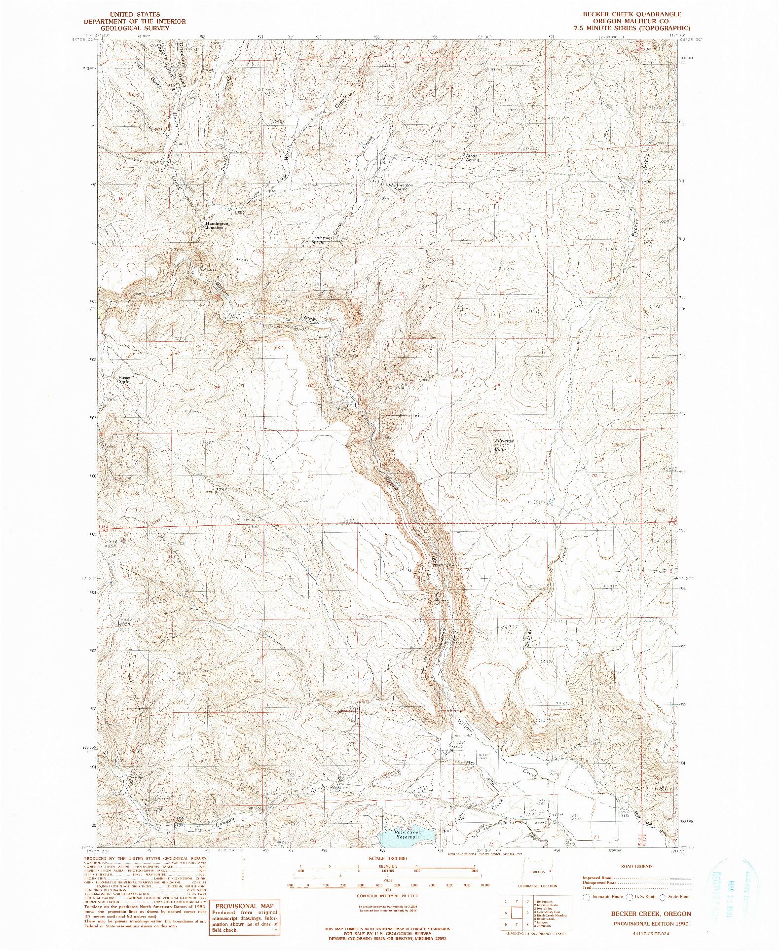 USGS 1:24000-SCALE QUADRANGLE FOR BECKER CREEK, OR 1990