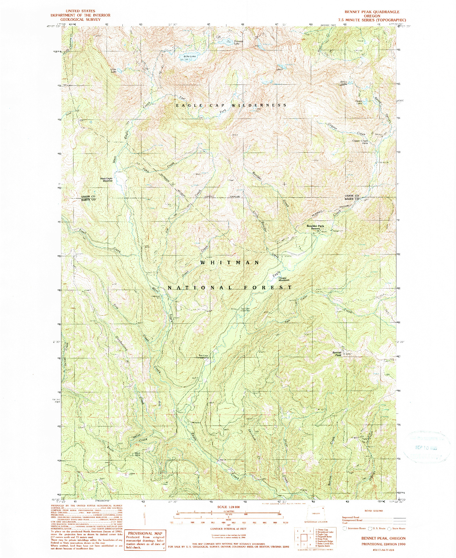 USGS 1:24000-SCALE QUADRANGLE FOR BENNET PEAK, OR 1990