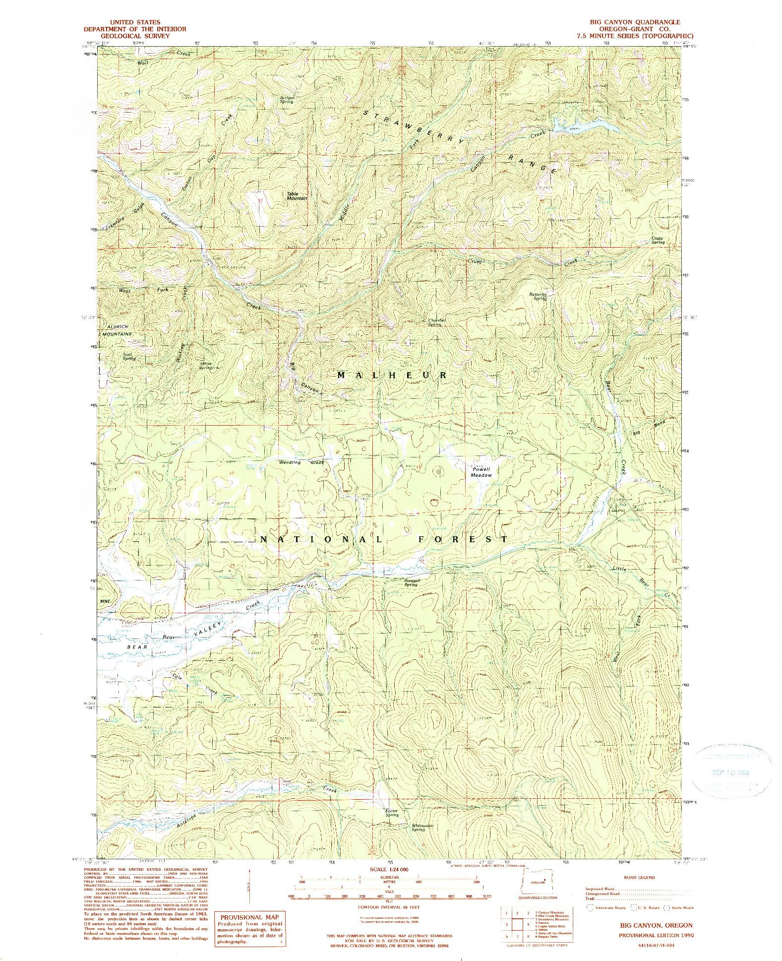 USGS 1:24000-SCALE QUADRANGLE FOR BIG CANYON, OR 1990