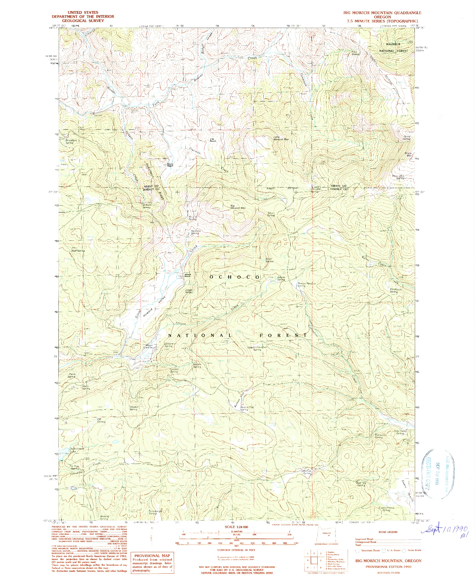 USGS 1:24000-SCALE QUADRANGLE FOR BIG MOWICH MOUNTAIN, OR 1990
