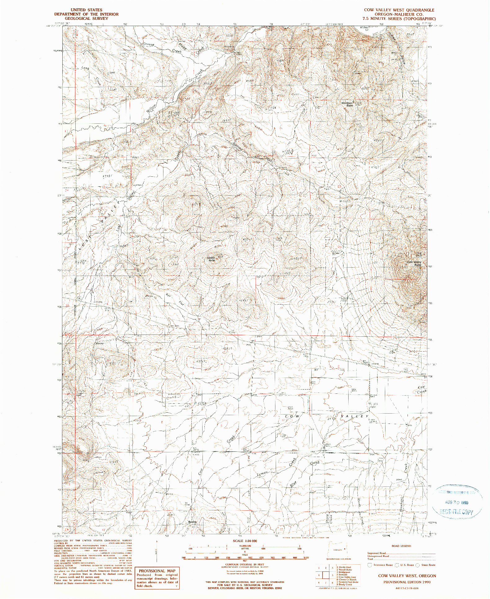USGS 1:24000-SCALE QUADRANGLE FOR COW VALLEY WEST, OR 1990