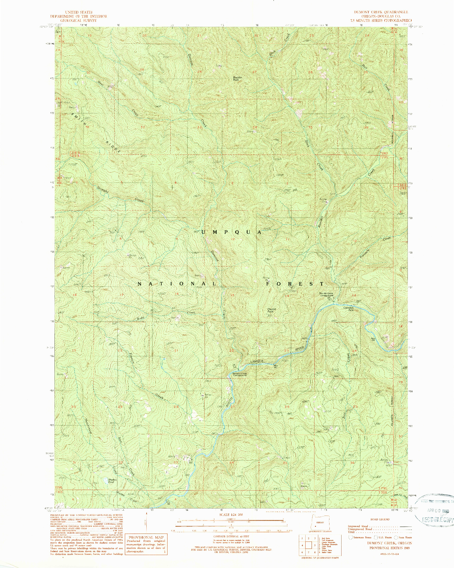USGS 1:24000-SCALE QUADRANGLE FOR DUMONT CREEK, OR 1989